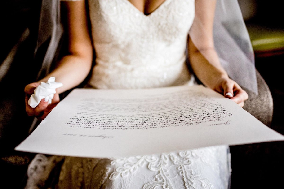 A bride reads a letter from her husband before her Salvatore's wedding.