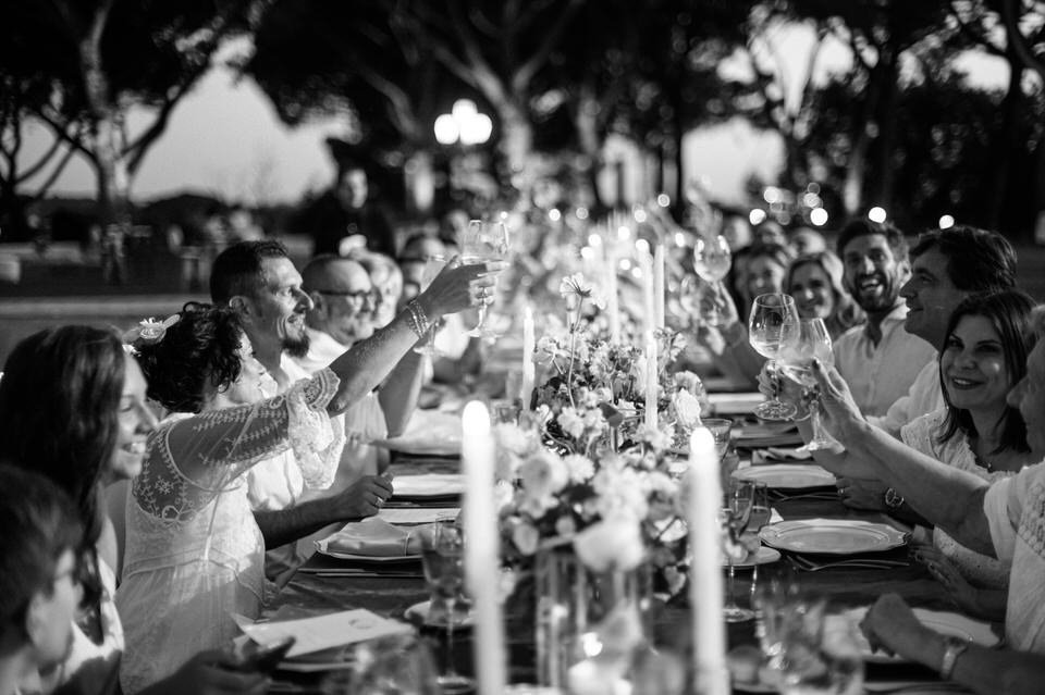 black and white reception photos at villa di fiorano in rome