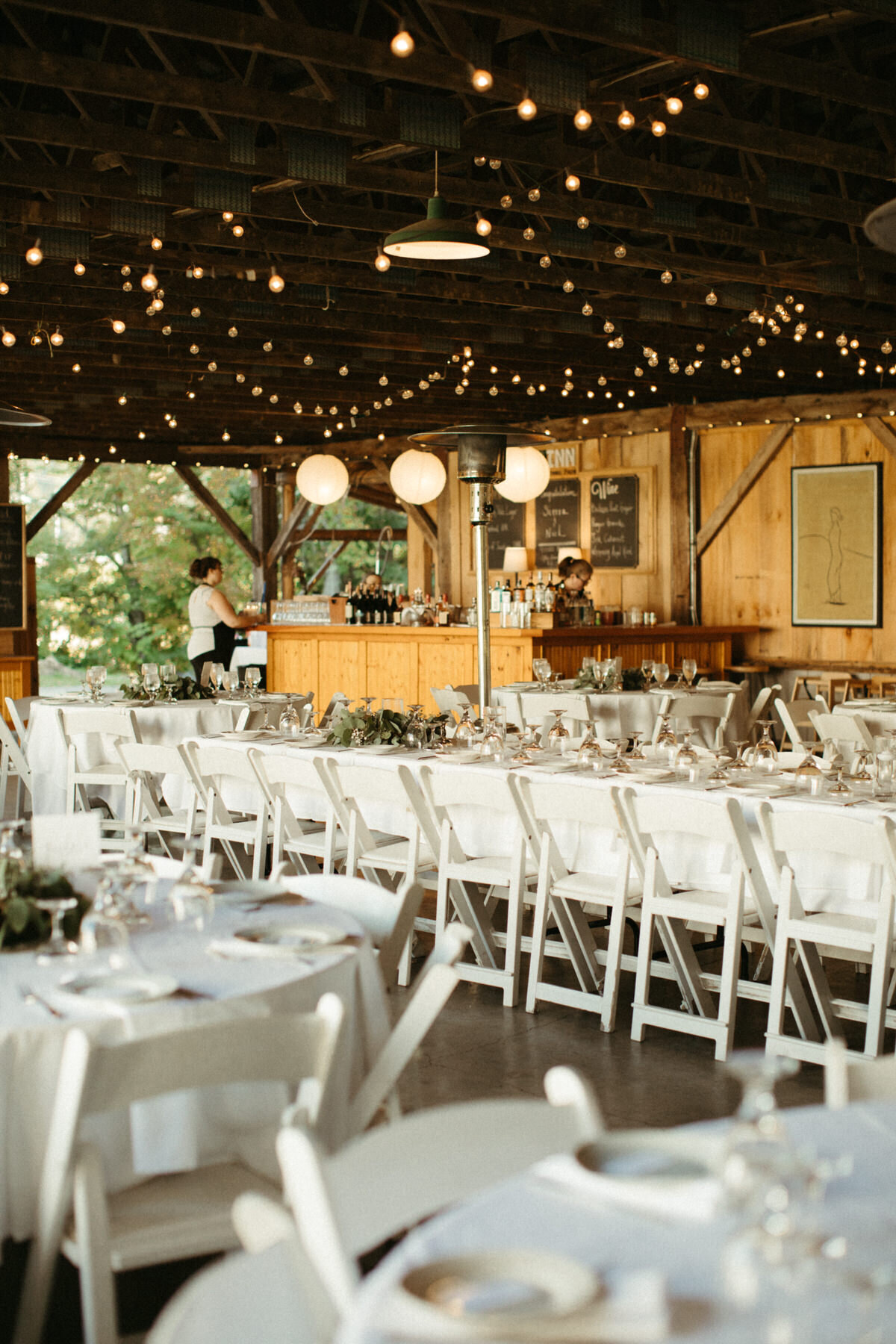 The dining hall for an outdoor wedding