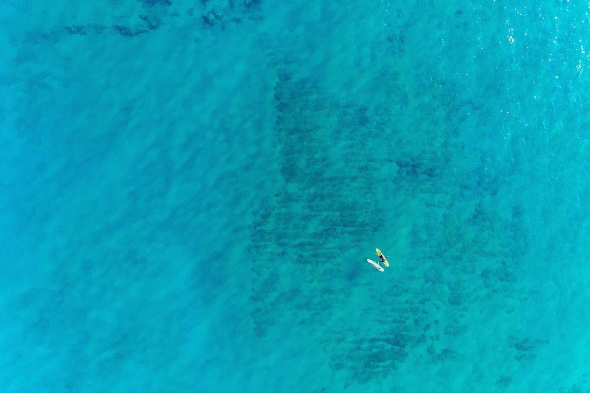 Couple photographed by drone on Maui as they lay on their surfboards in the ocean