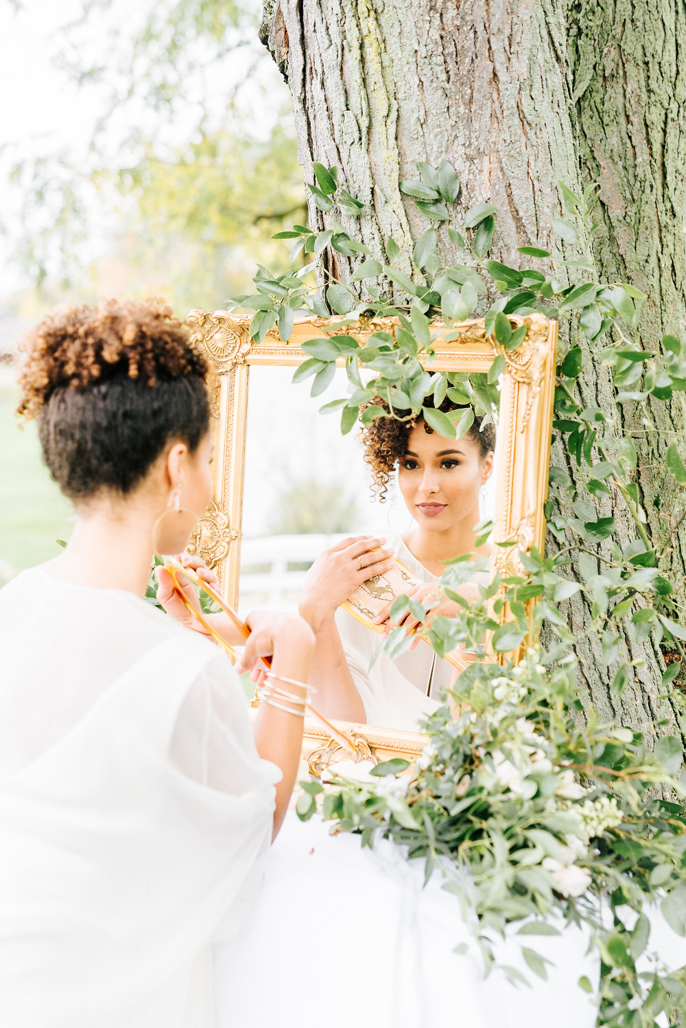 Lush Greenery Wedding Inspired Styled Shoot at Cornman Farms Bridal Details Gilded Mirror