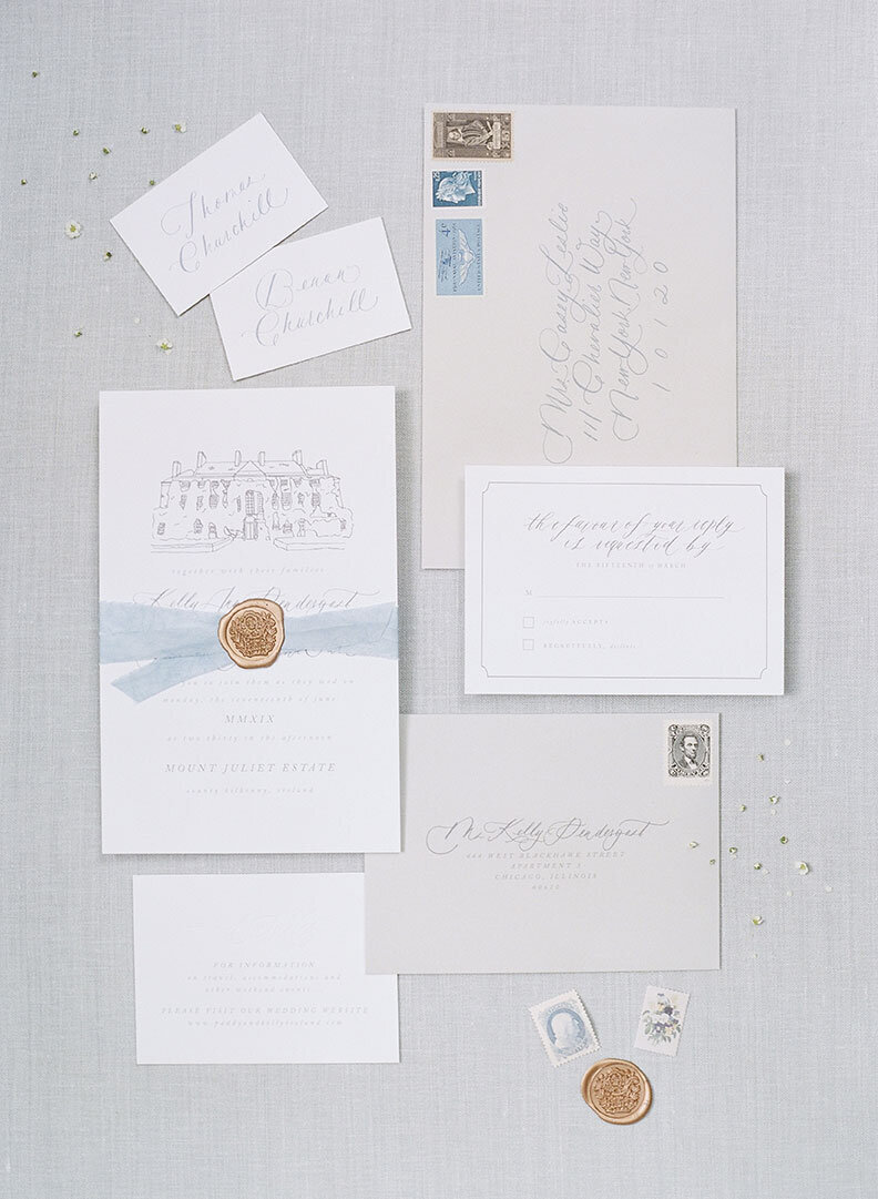 Ireland & US Wedding Planner, stationary flat lay