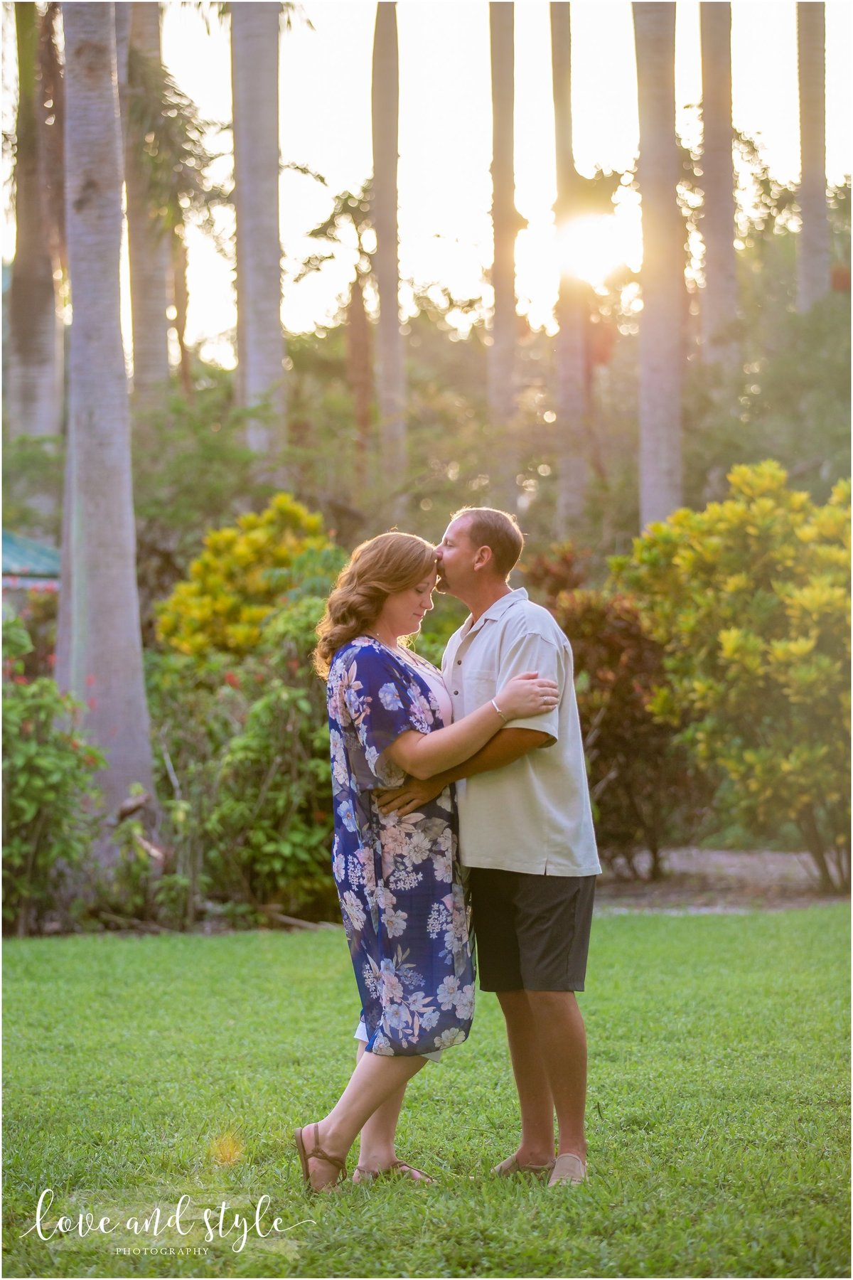 Engagement Photography at Palma Sola Botanical Garden during sunset on the lawn