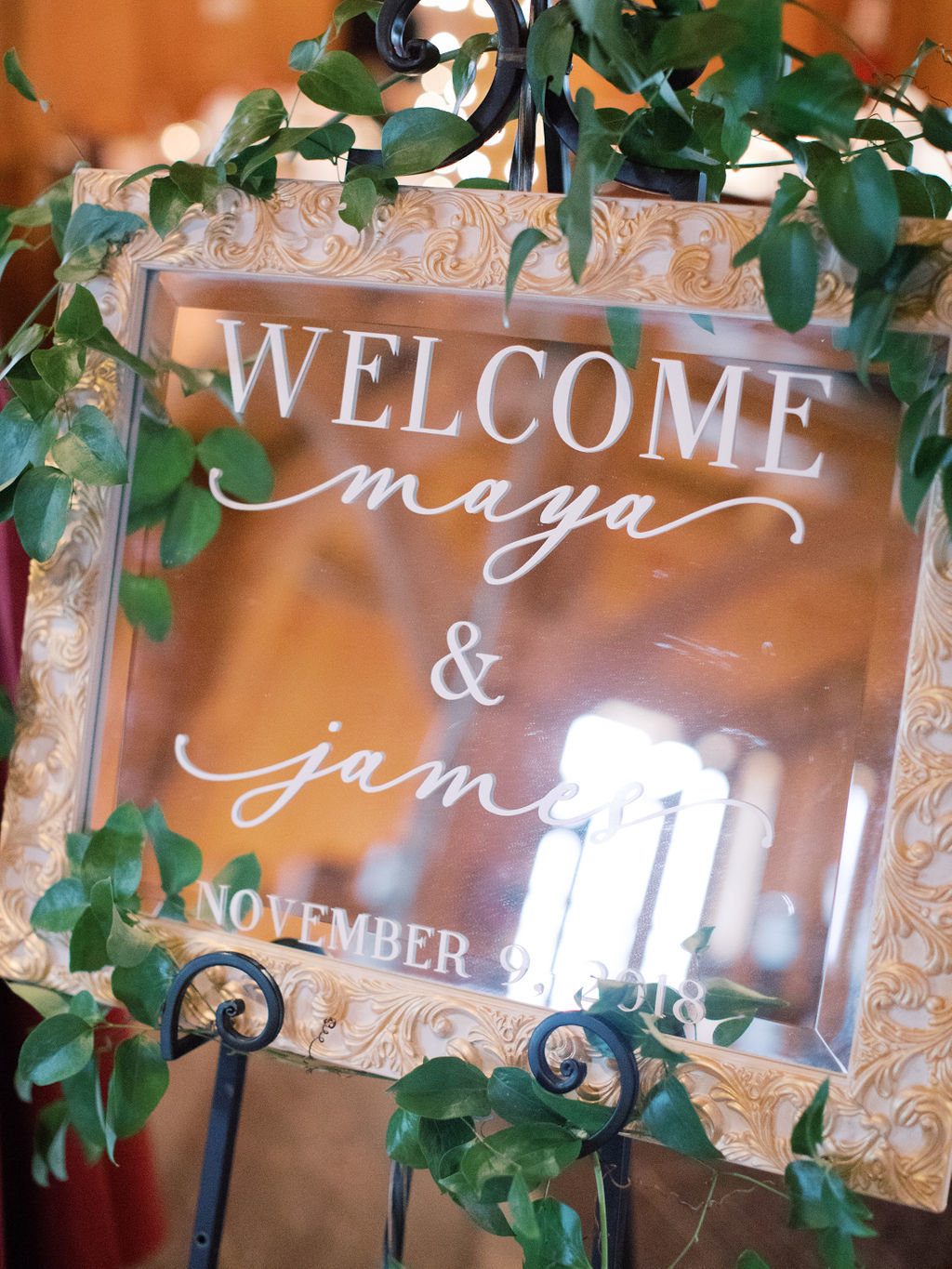 Wedding welcome sign mirror
