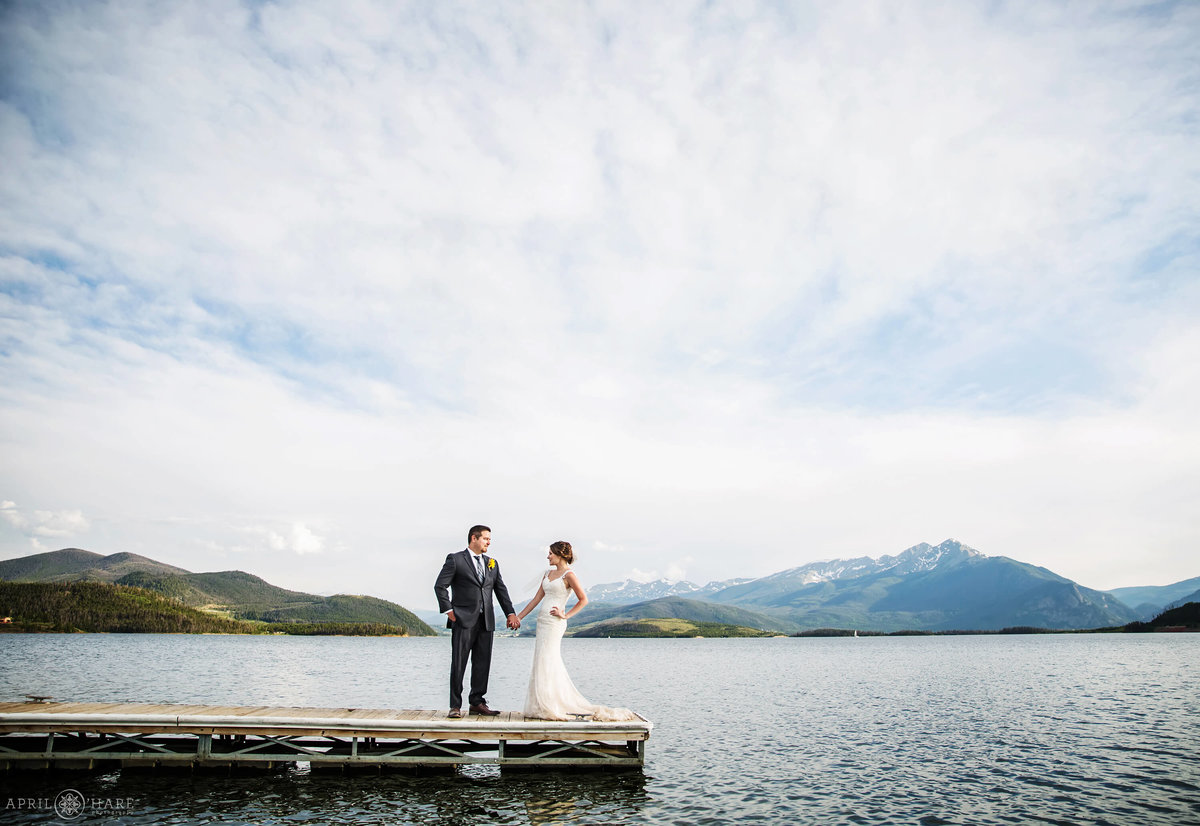 Wedding Photography  on the dock at Lake Dillon in Summit County Colorado