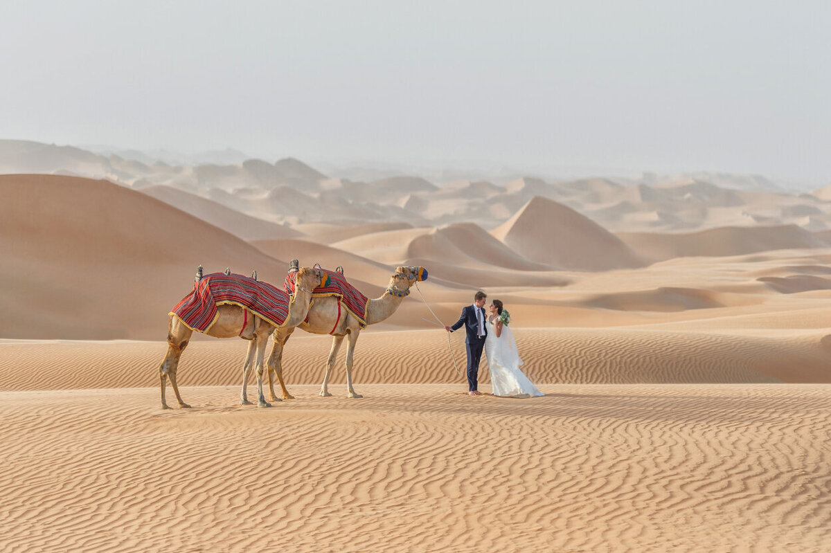 Arabian Nights Wedding photoshoot with camels in Dubai, organized by Lovely & Planned