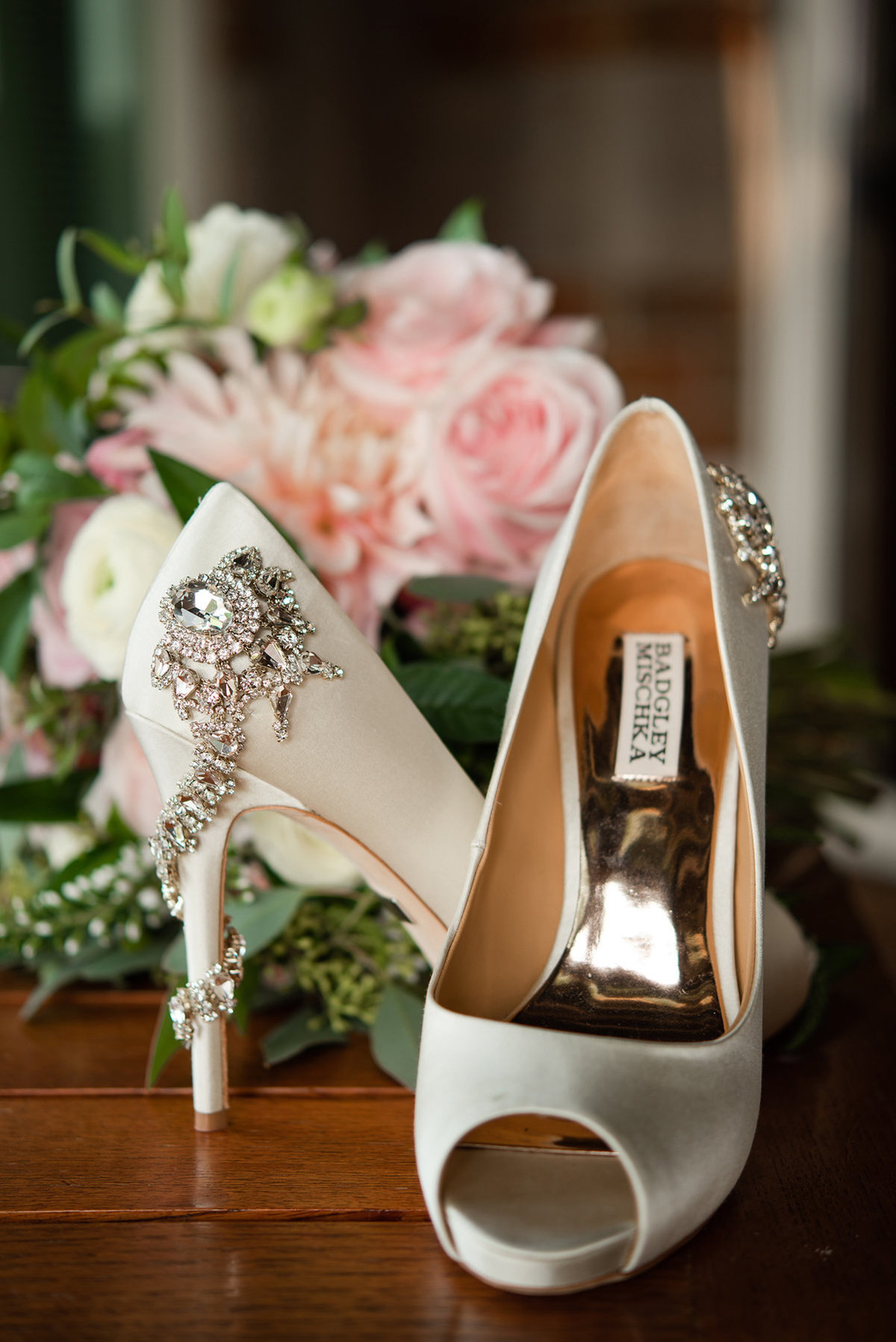 embelished bridal heels