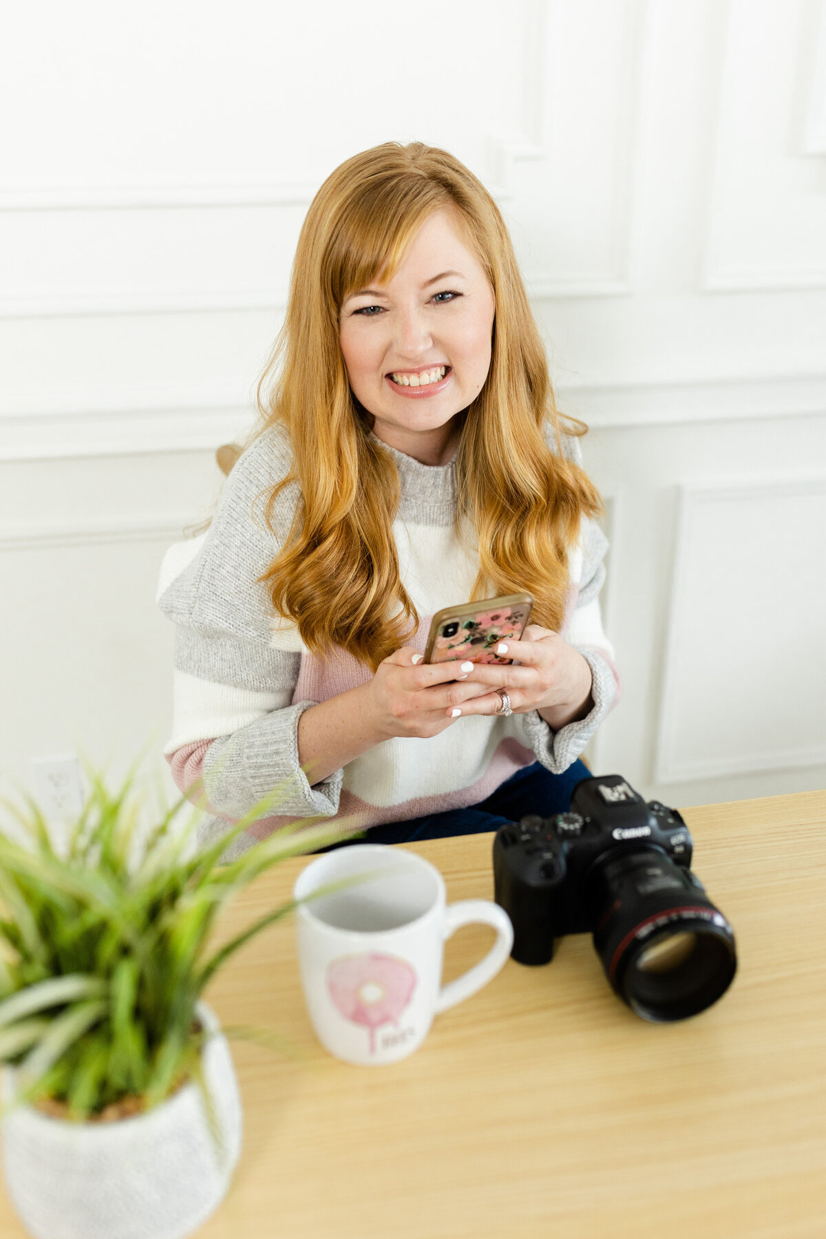 smiling for branding photographer