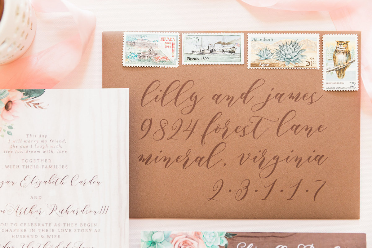 brown calligraphy wedding envelope