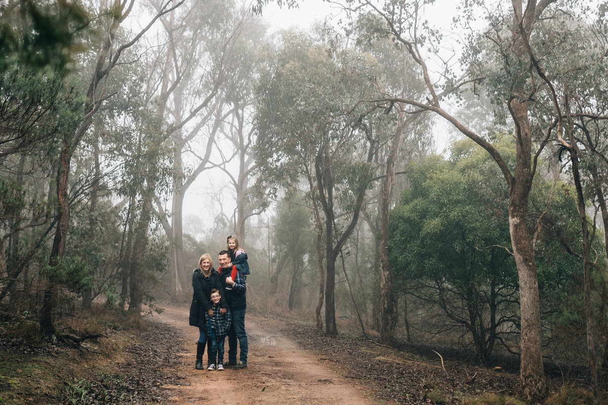 family in fog outdoors Hurstbridge Melbourne family photography And So I Don't Forget Photography