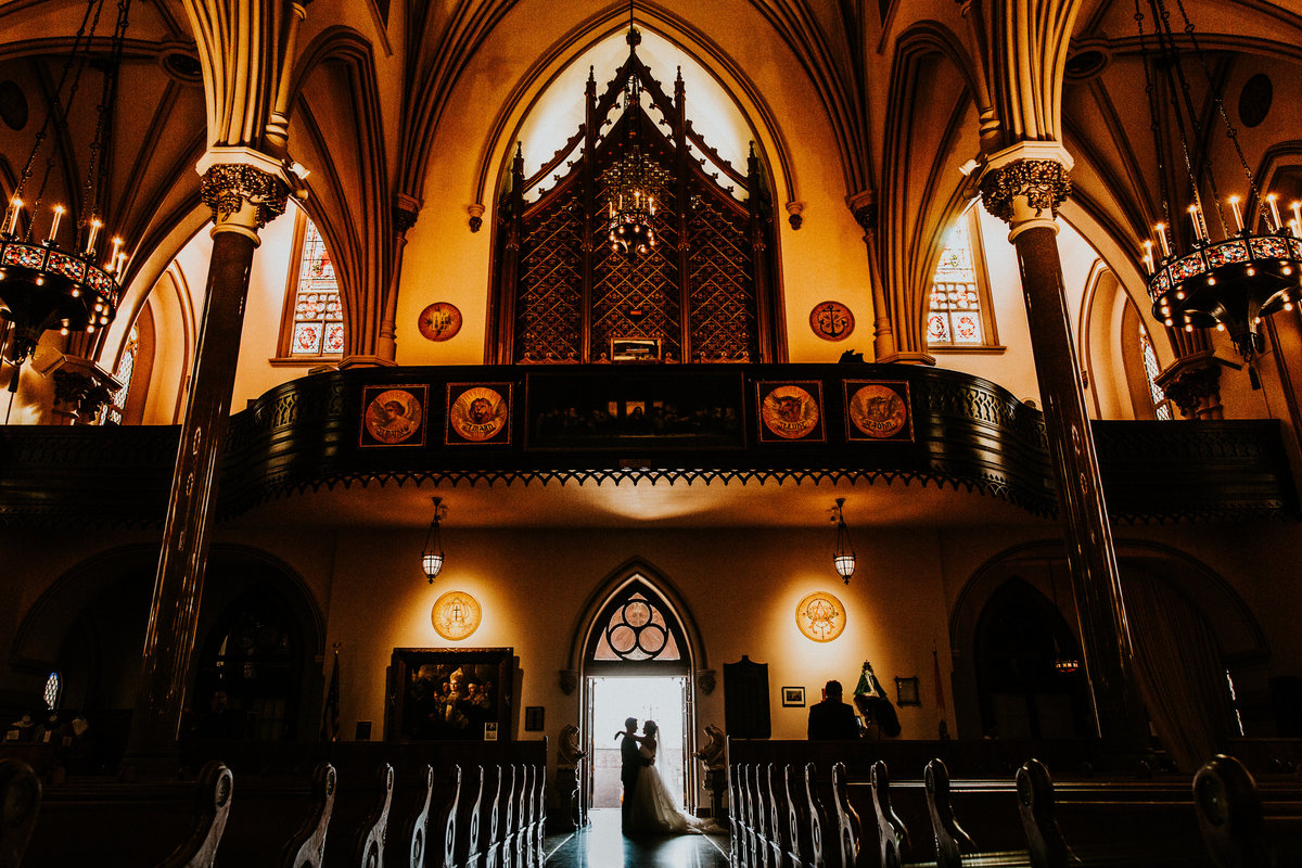 Wedding Photo at the Historic St. Patrick's Cathedral in Toledo Ohio