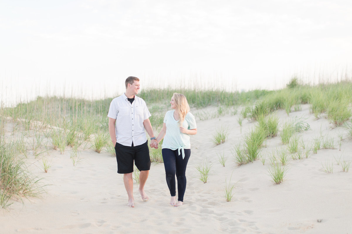 sunset engagement pictures at Virginia Beach North End beach