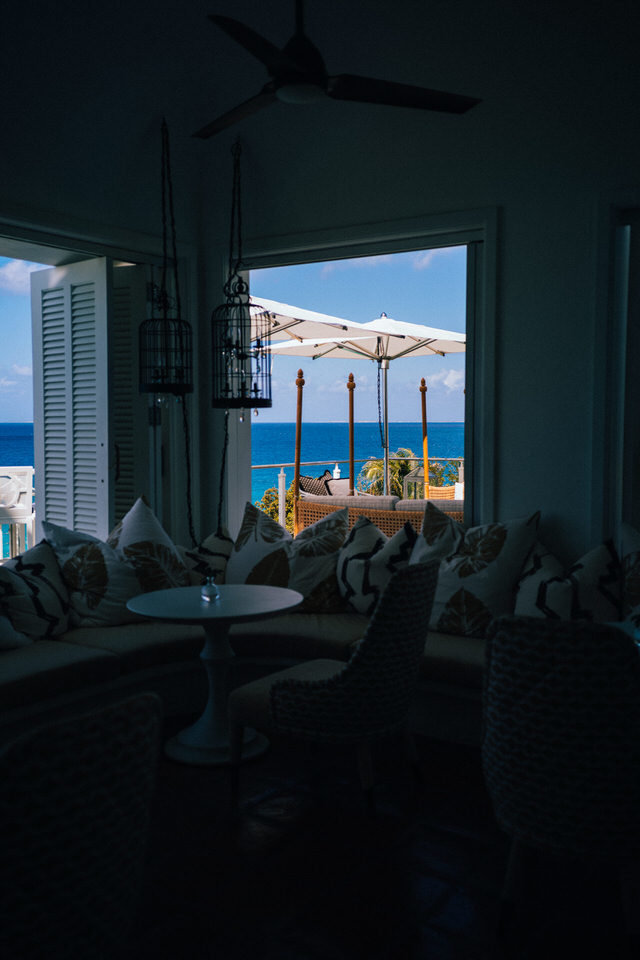 dining room view of the ocean at malliouhana