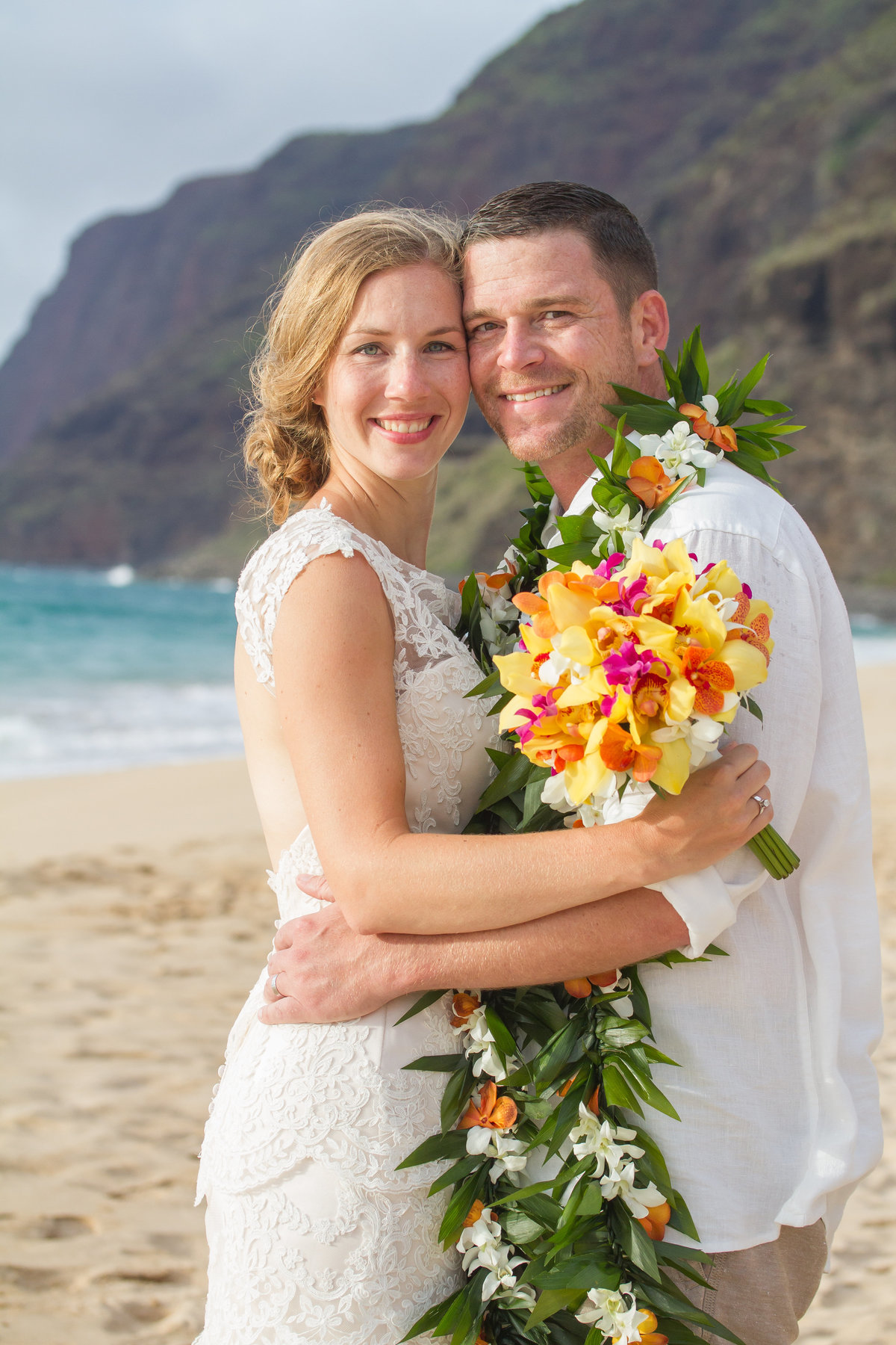 Happy couple just married on Kauai.