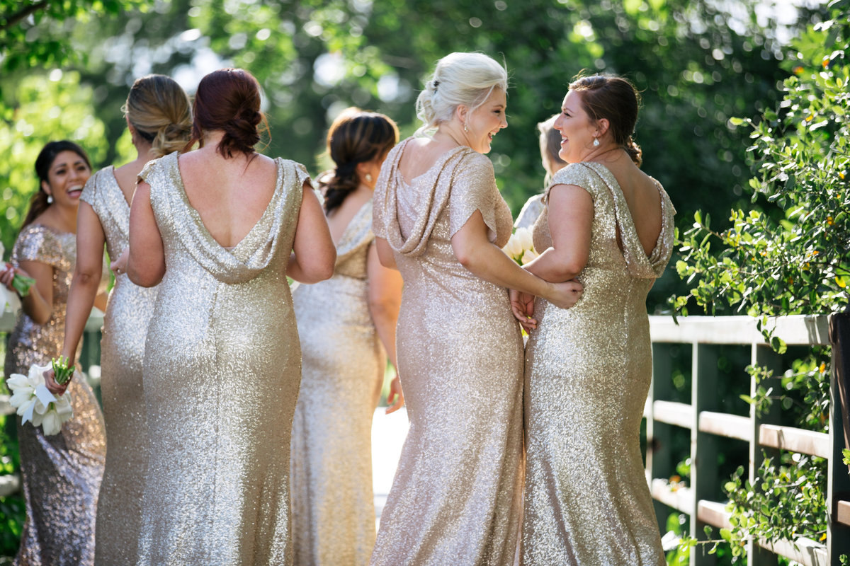 Sacramento bridesmaids in gold dresses