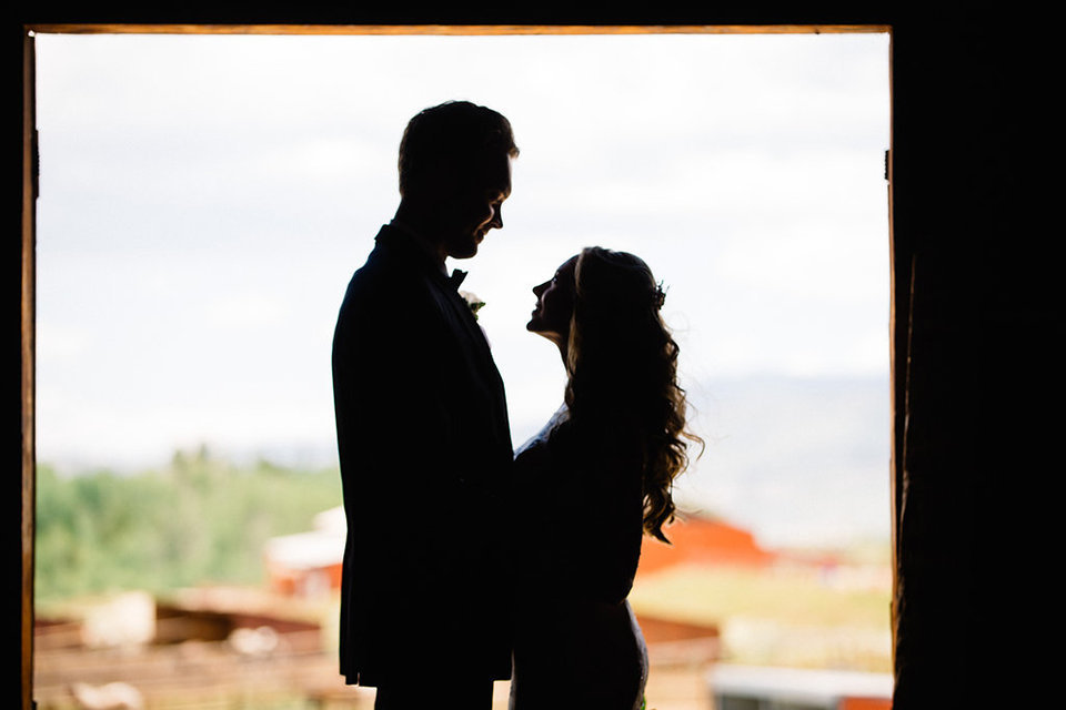 Strawberry-Creek-Ranch-Modern-Minimalist-Outdoor-wedding-in-Granby-Colorado-Profile-Of-Bride-and-Groom