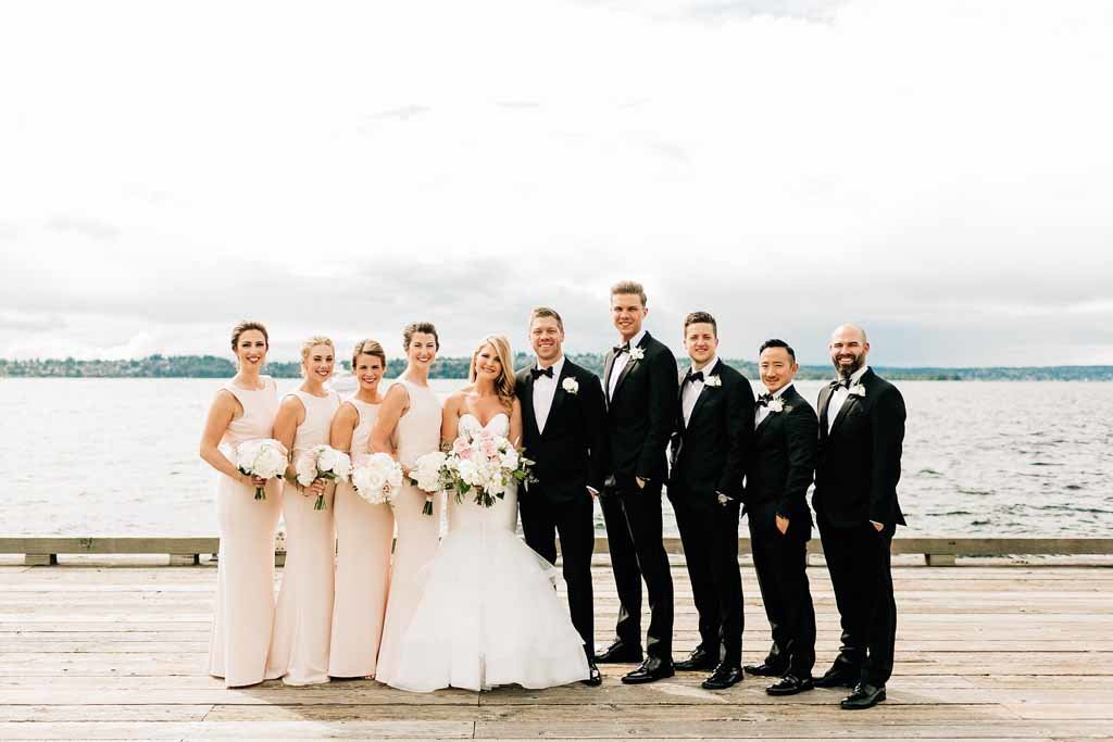 What a lovely wedding party this group made posing on Lake Washington in Seattle.