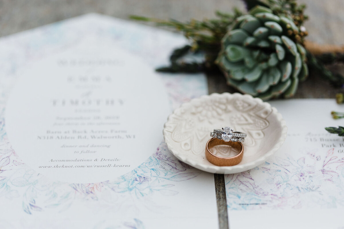 wedding details invitations and rings