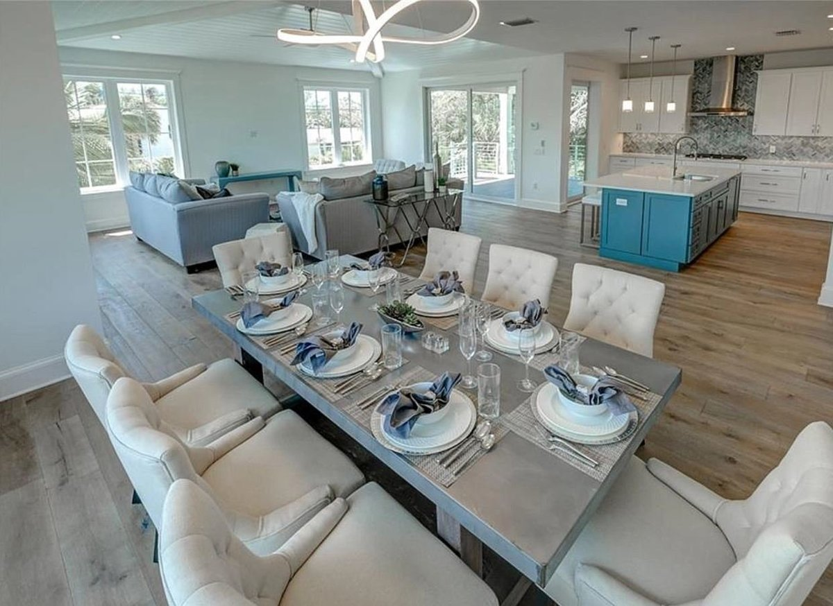 coastal contemporary living and dining room