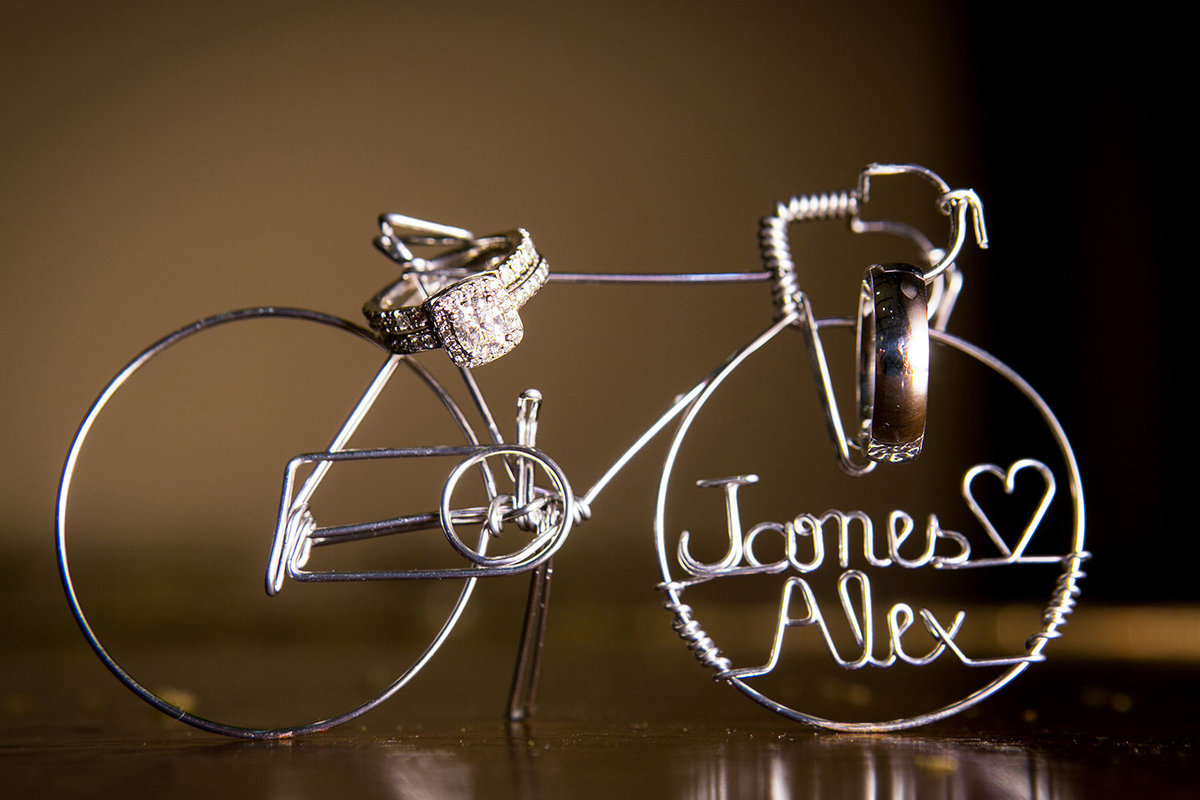 wedding photos bicycle with names cake topper