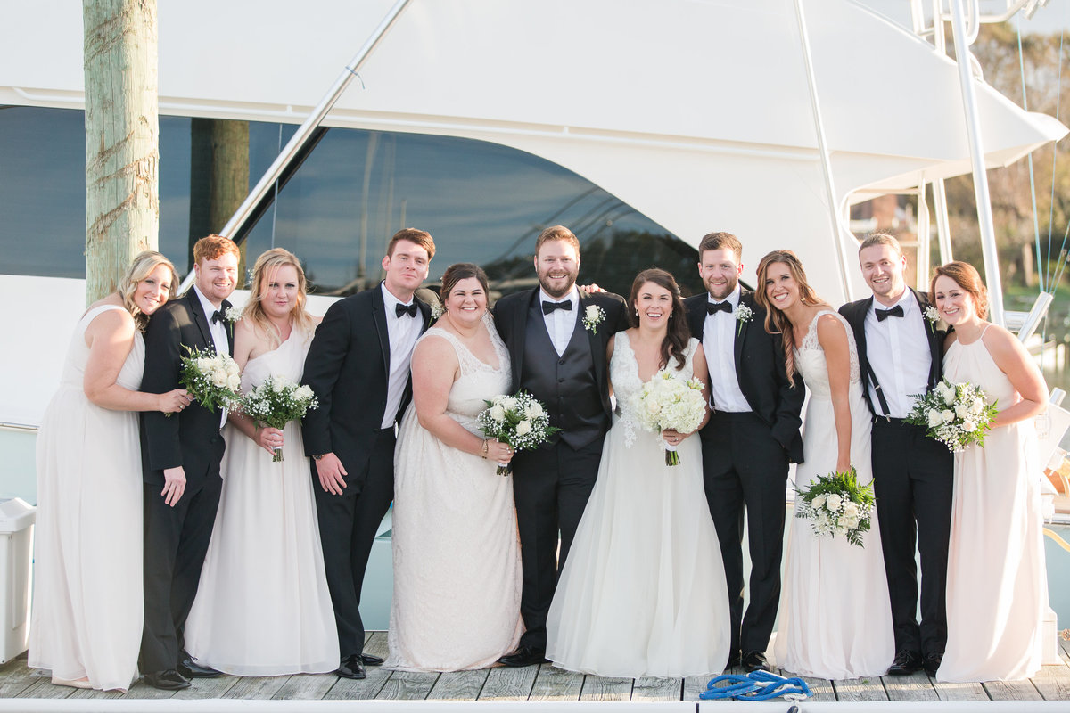 Wedding party on the dock at The Water Table in Virginia Beach