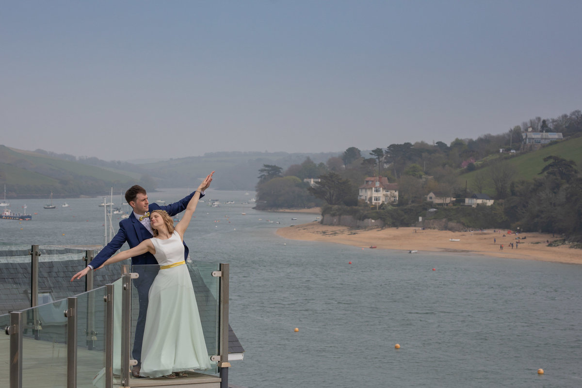 Bride and Groom at Salcombe Harbour Hotel in Devon_