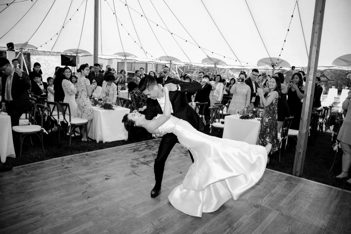 bride and groom dancing in tent wedding in nj