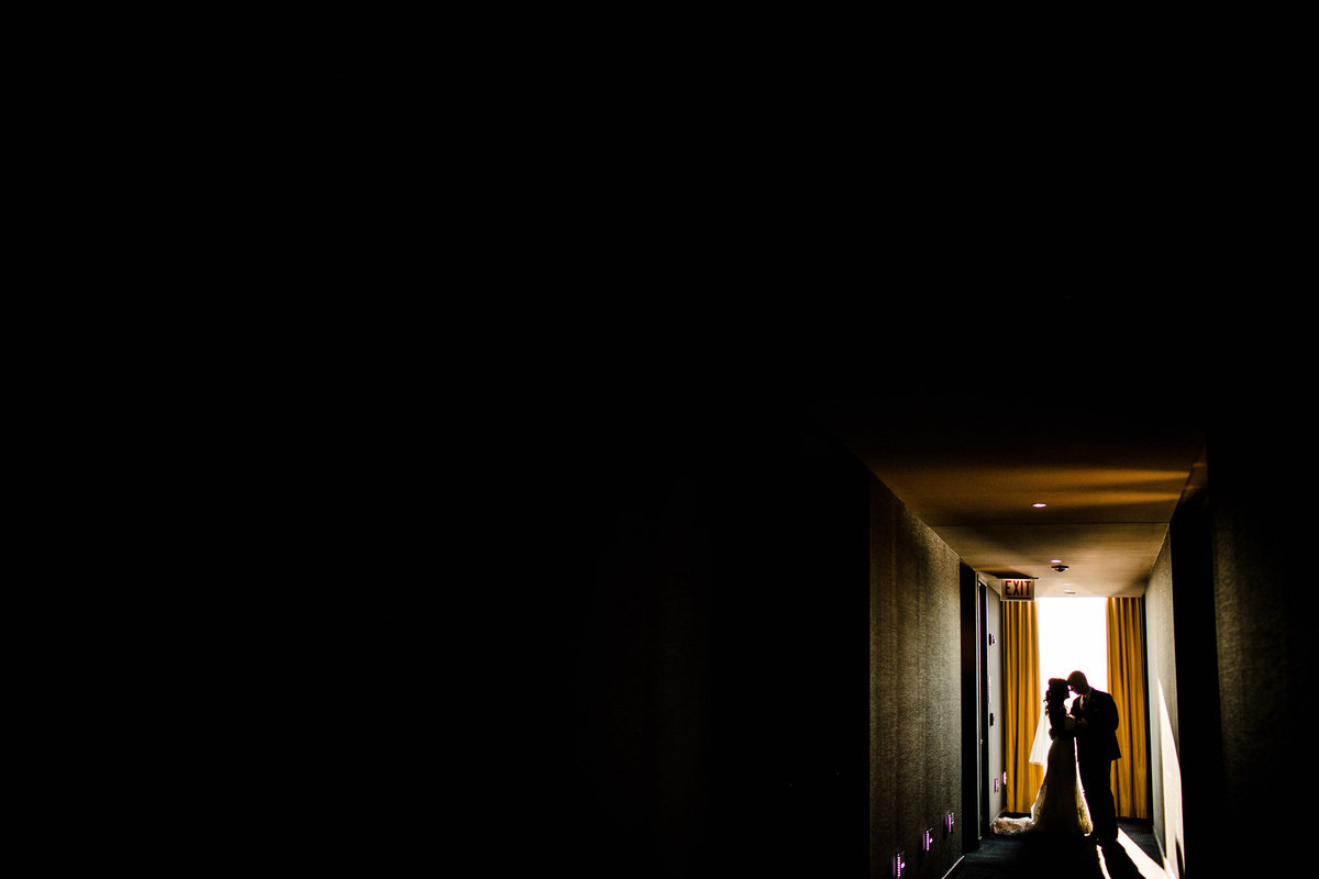 A couple shares a moment together before their Westin Chicago wedding.