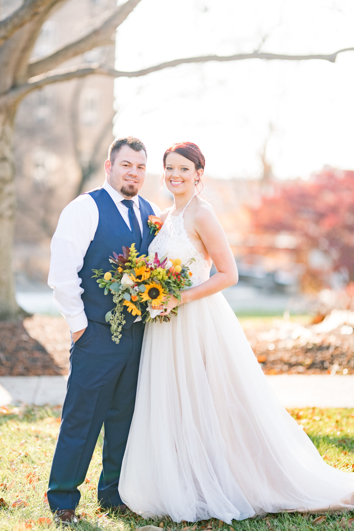 Couple Portraits Wedding Brewery Cincinnati Ohio Colorful Flowers-50