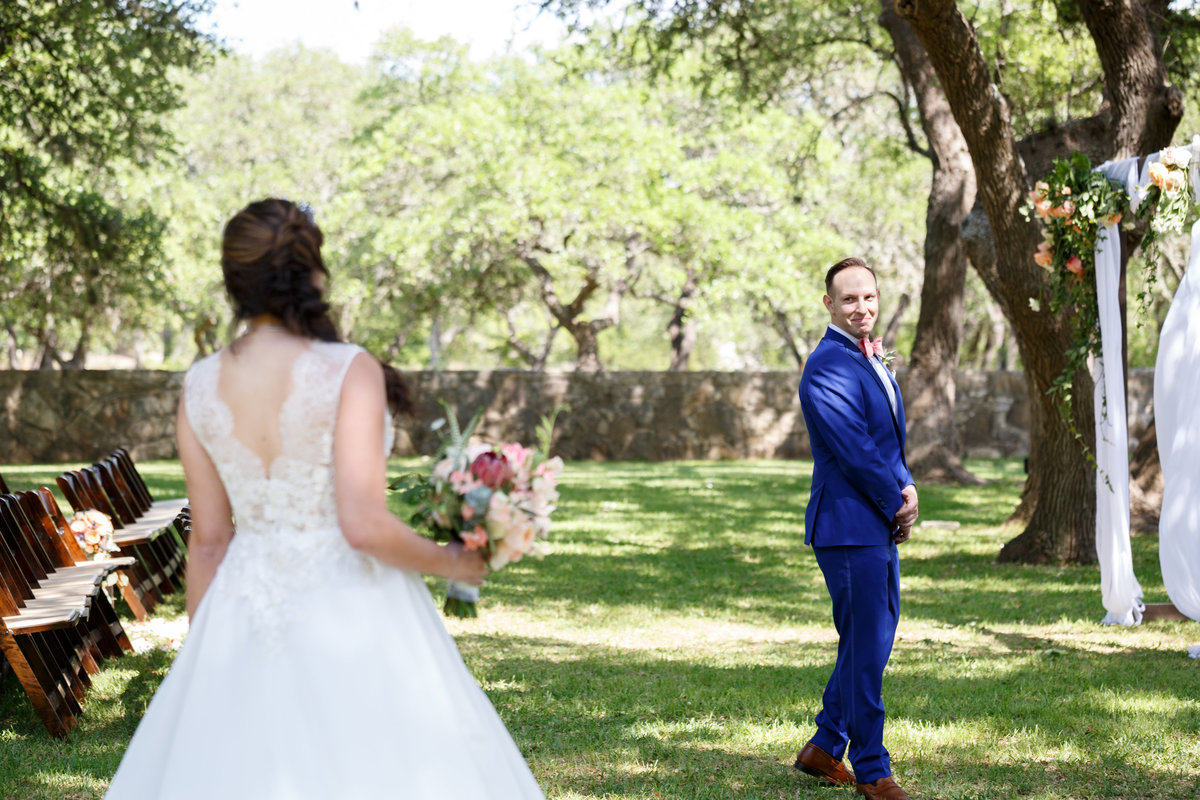 Austin wedding photographer addison grove wedding photographer bride groom first look cute