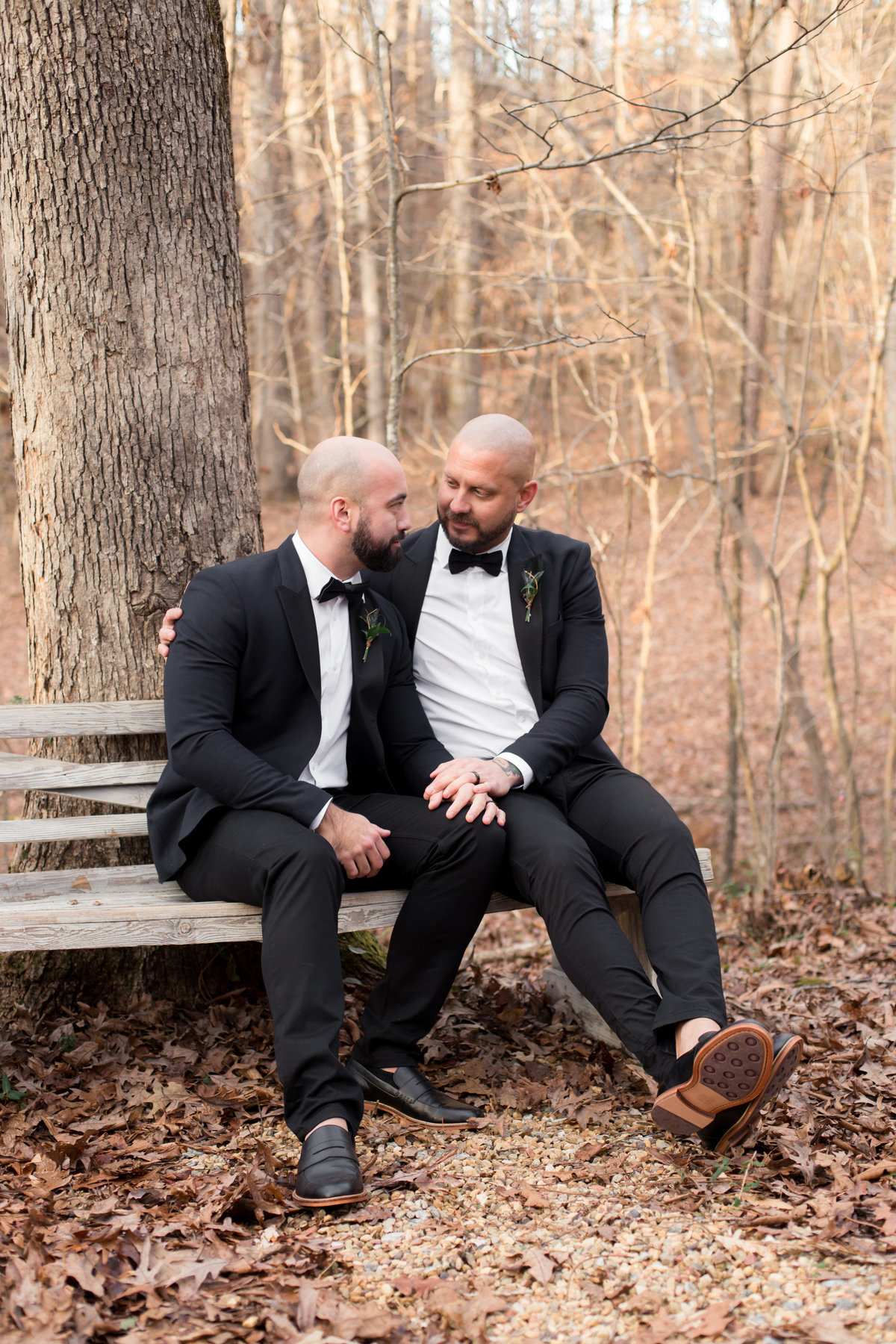 engaged gay couple posing on bench in woods for wedding photographer