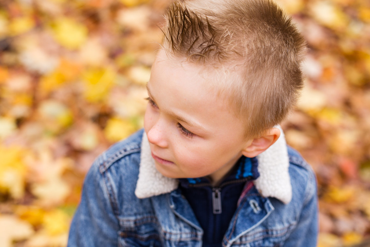 5 year boy looking away in fall foliage {Milton Child Photographer}