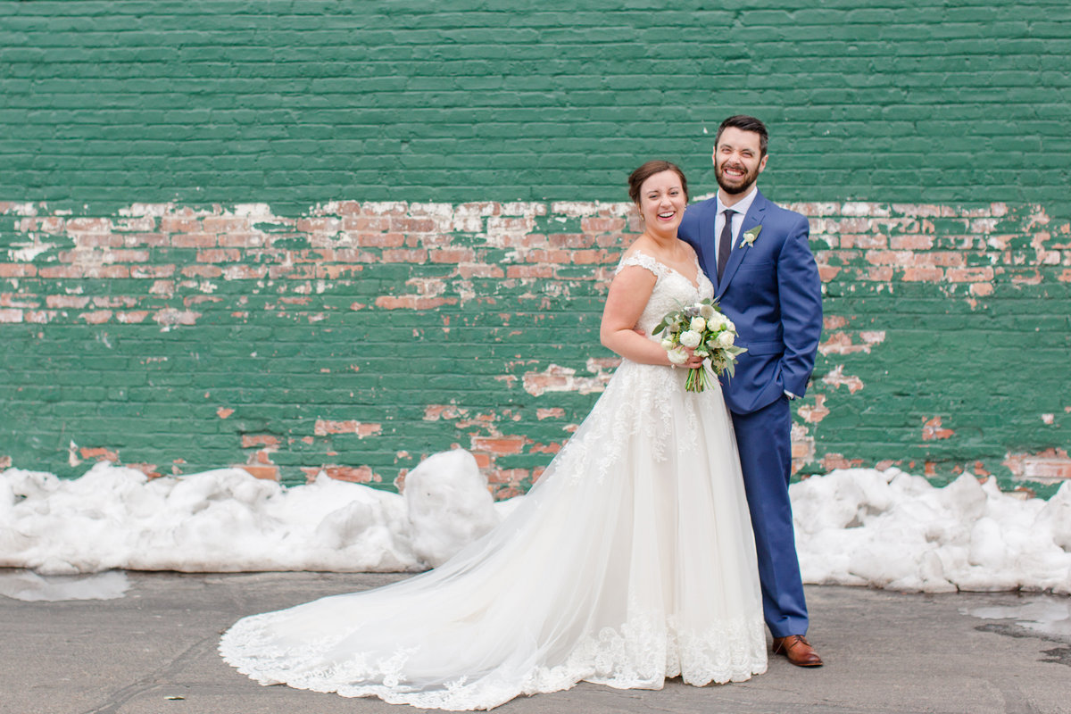 Catholic bride and groom at Mercantile Hall Wedding Reception - Burlington, Wisconsin