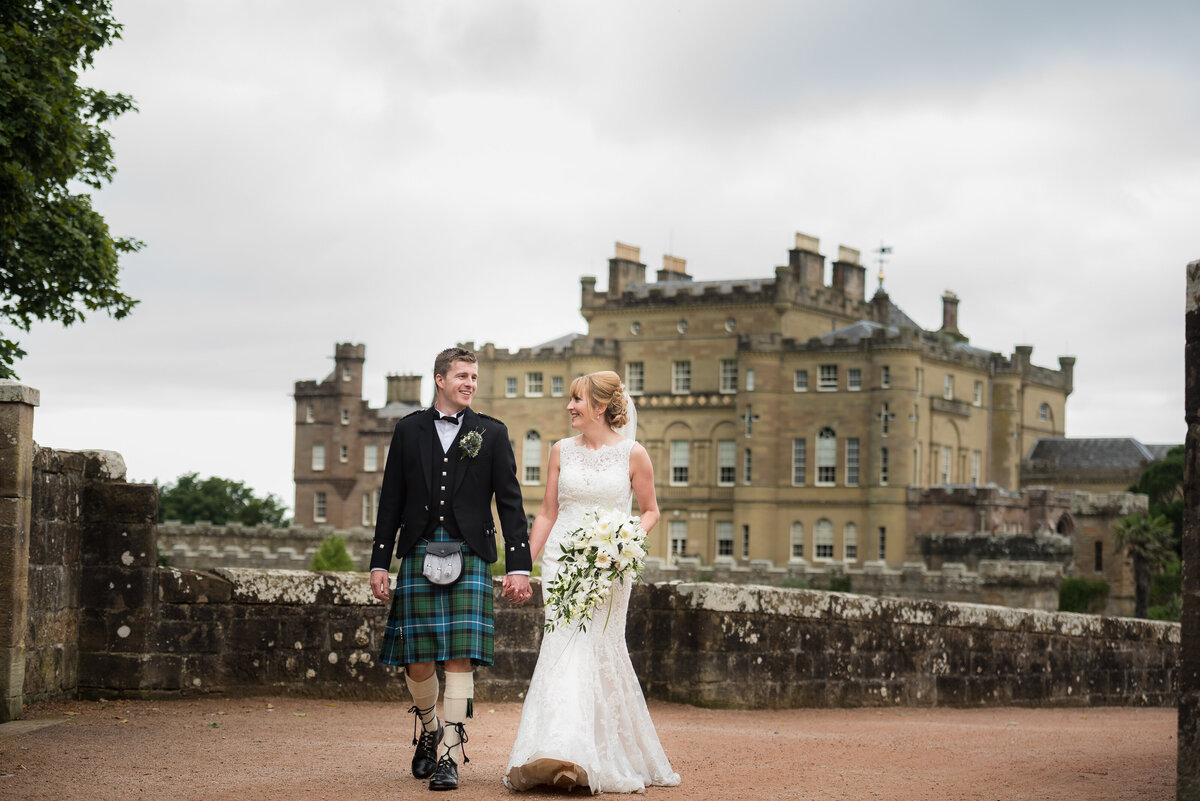 Bride and groom at Culzean Castle wedding, photographed by wedding photographers in Glasgow.