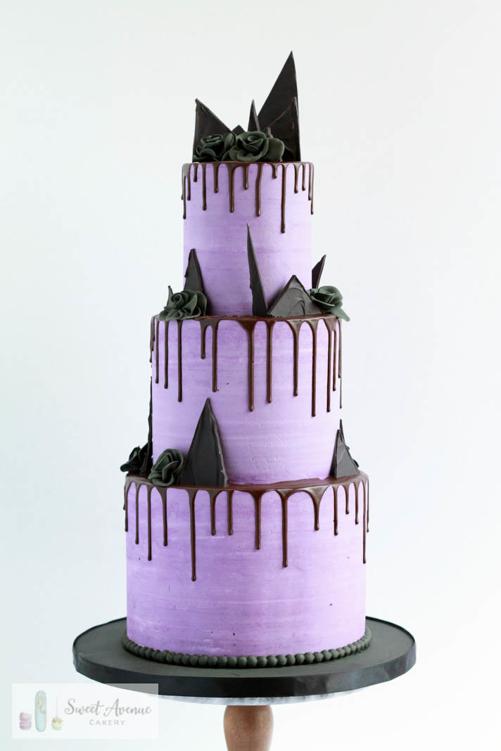 Halloween purple chocolate drip wedding cake with chocolate shards