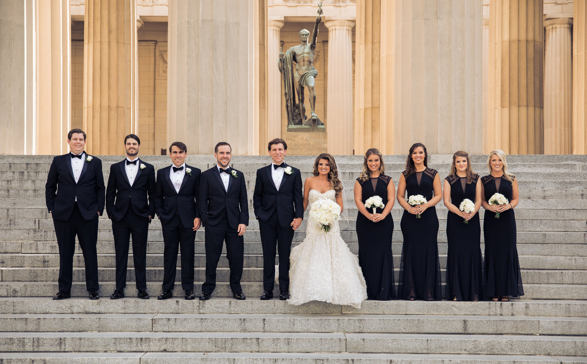 Wedding party on the steps of War Memorial in Nashville.