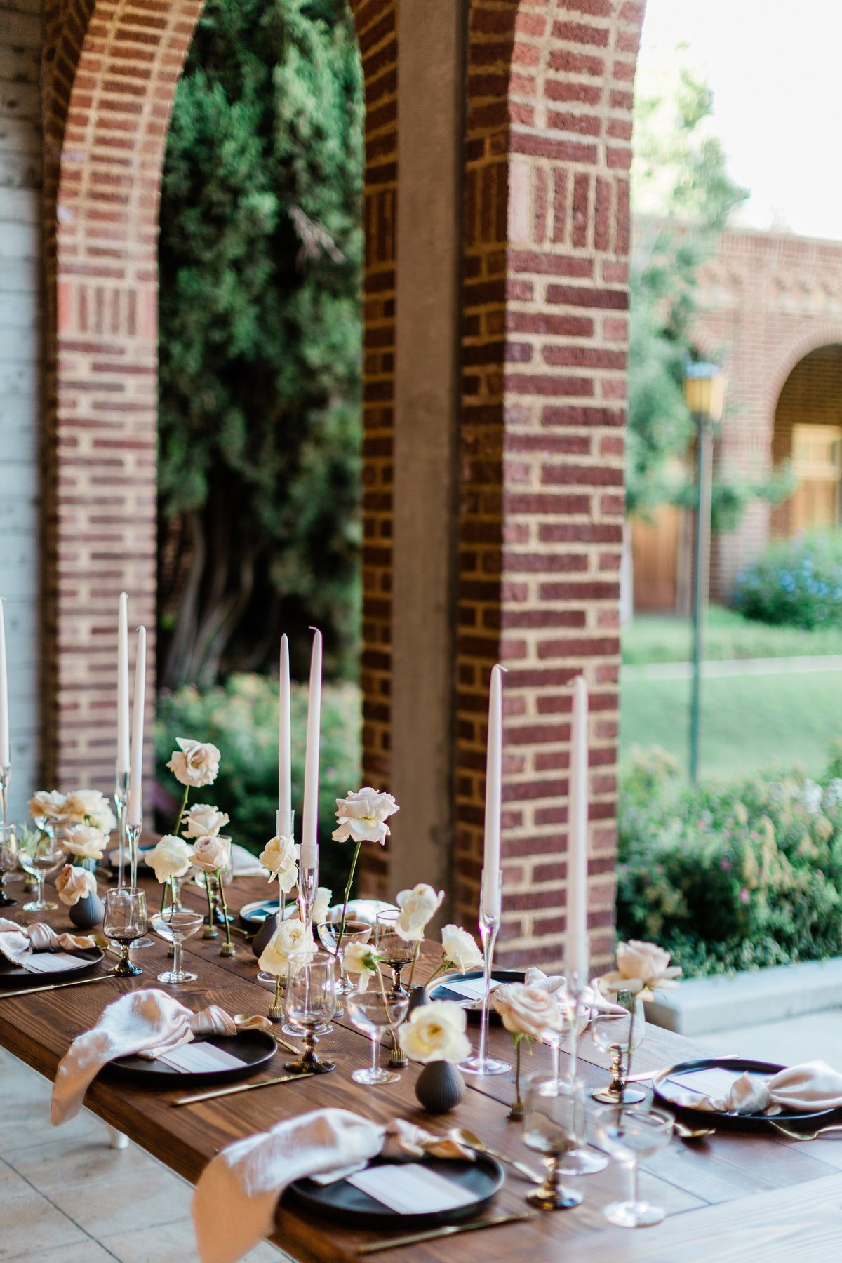 romantic wedding table setting at fresno city college