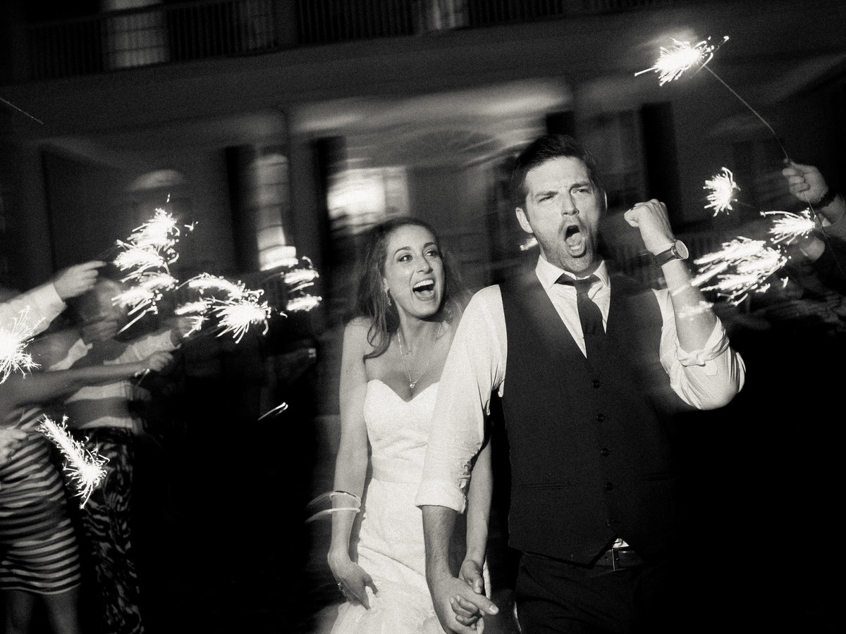 The best Bride and groom sparkler send off picture.