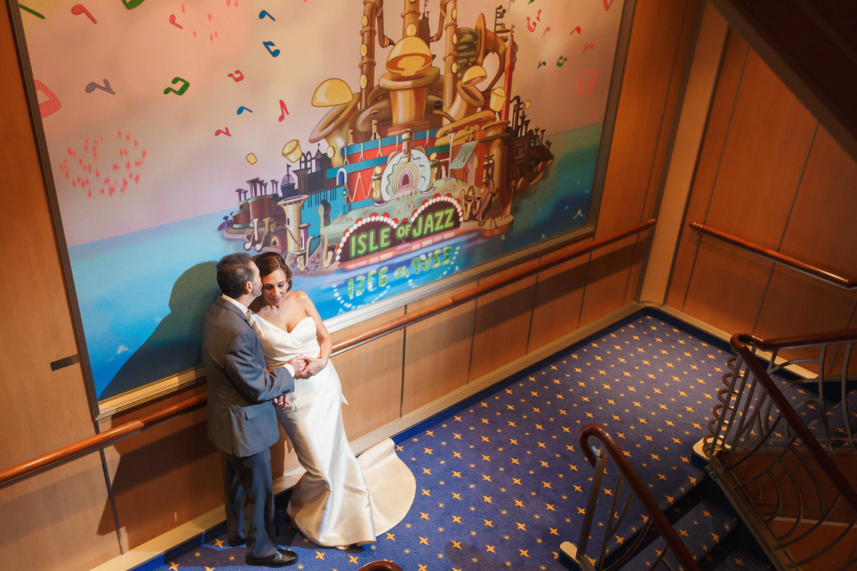 Romantic photo of bride and groom onboard Disney Dream
