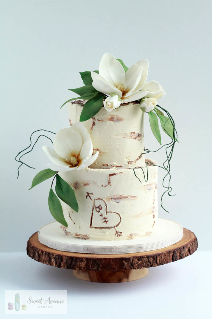 rustic tree bark buttercream wedding cake with woodland flowers, wedding cakes Niagara
