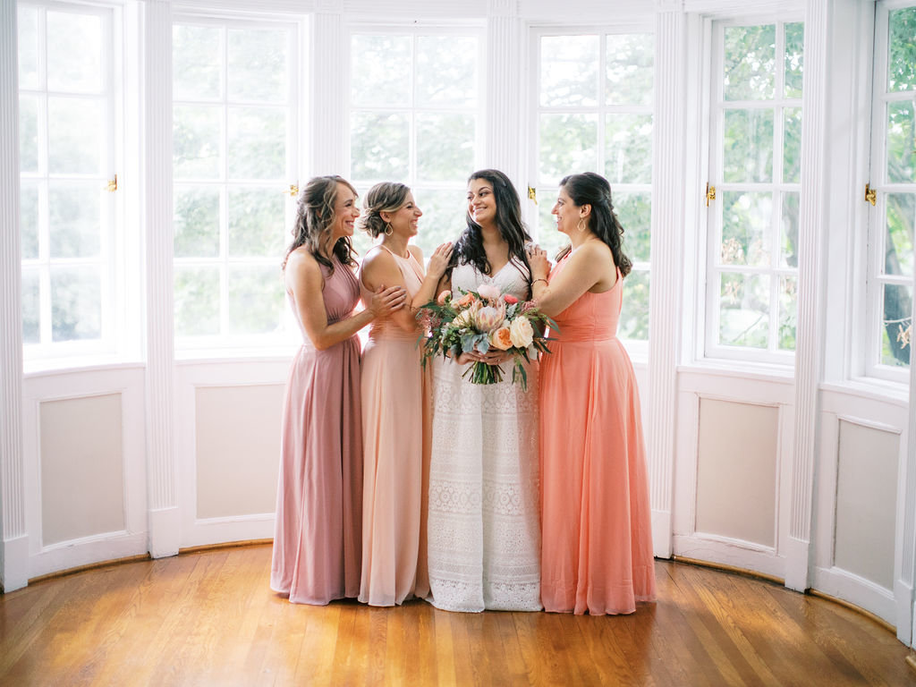 bride and bridesmaids Greenville Country Club Florist