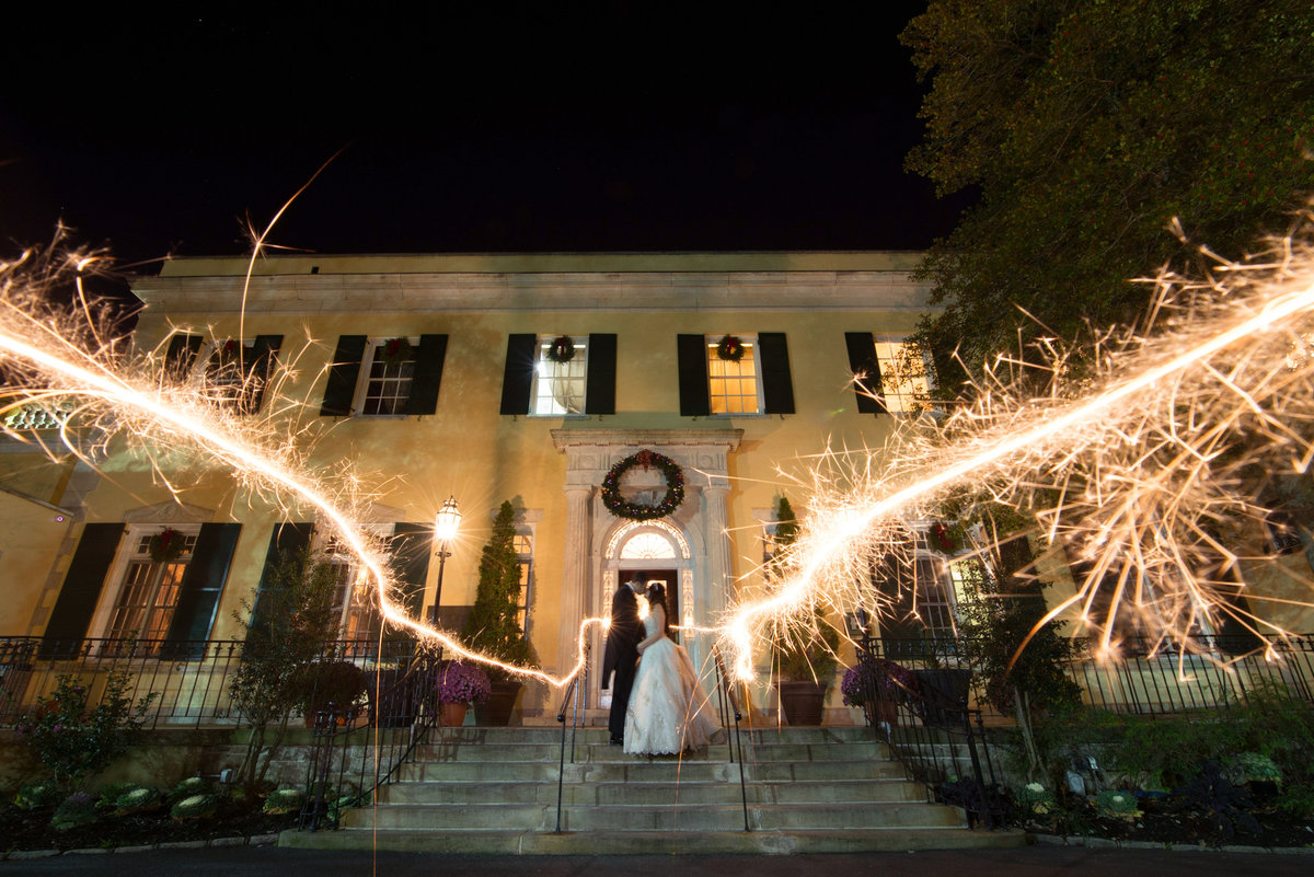 Sparkler photo outside The Mansion at Oyster Bay