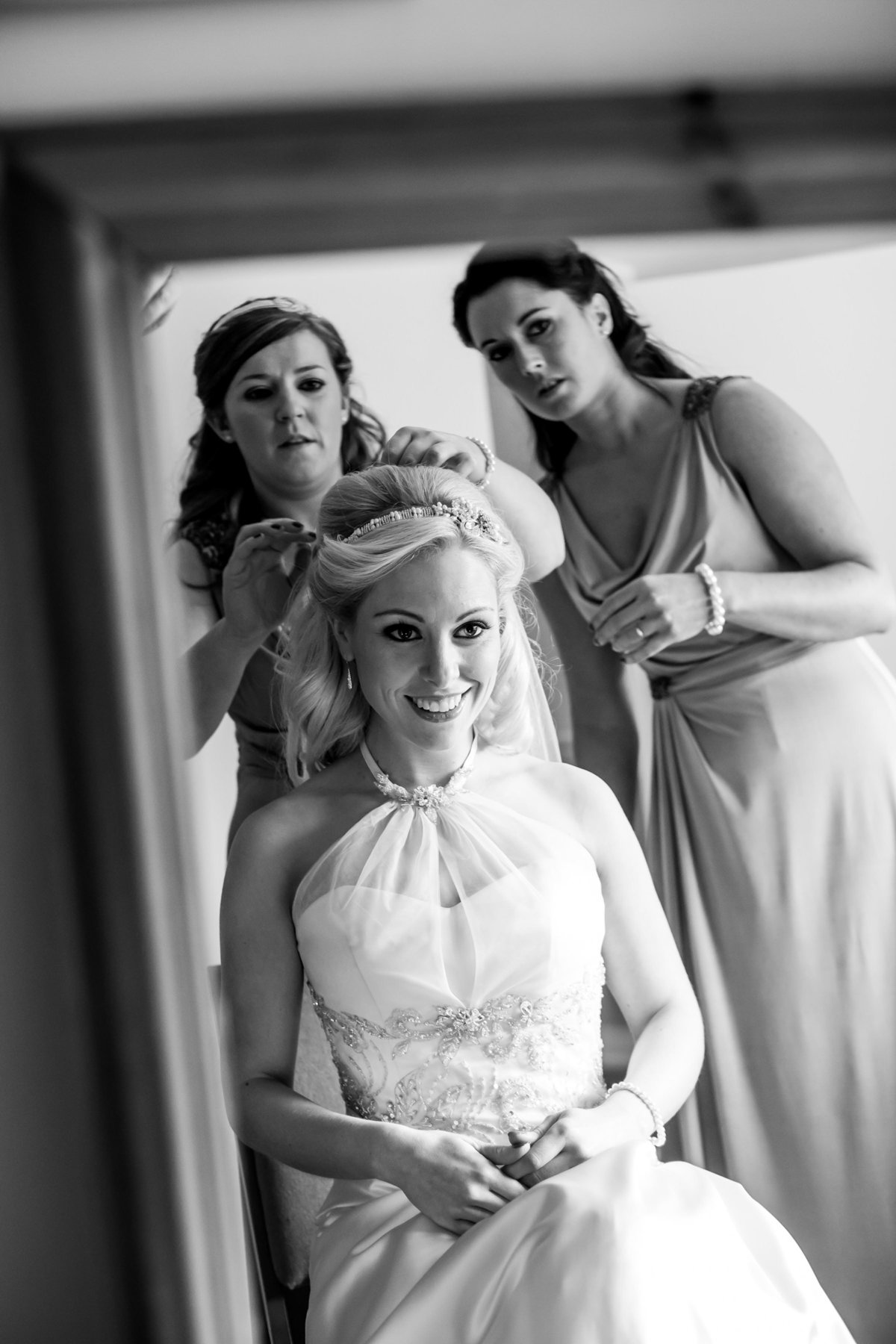 bride in mirror at st audries park country house wedding venue