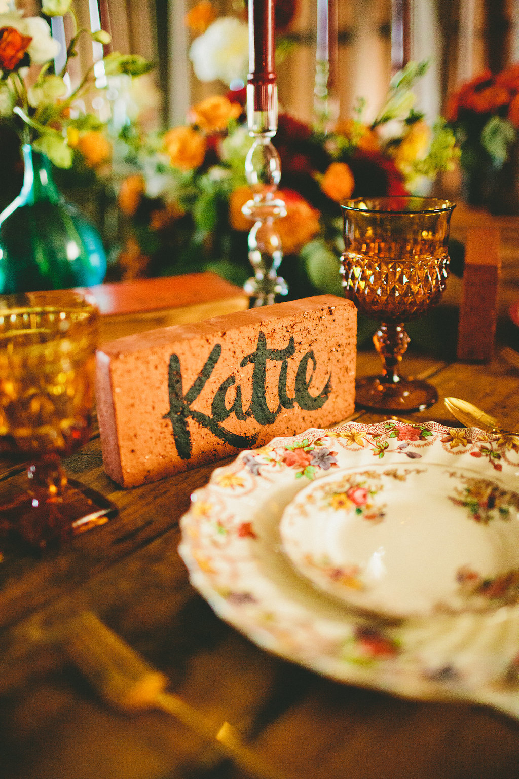 Vintage plate place setting with hand painted name card for dinner party with Local Table