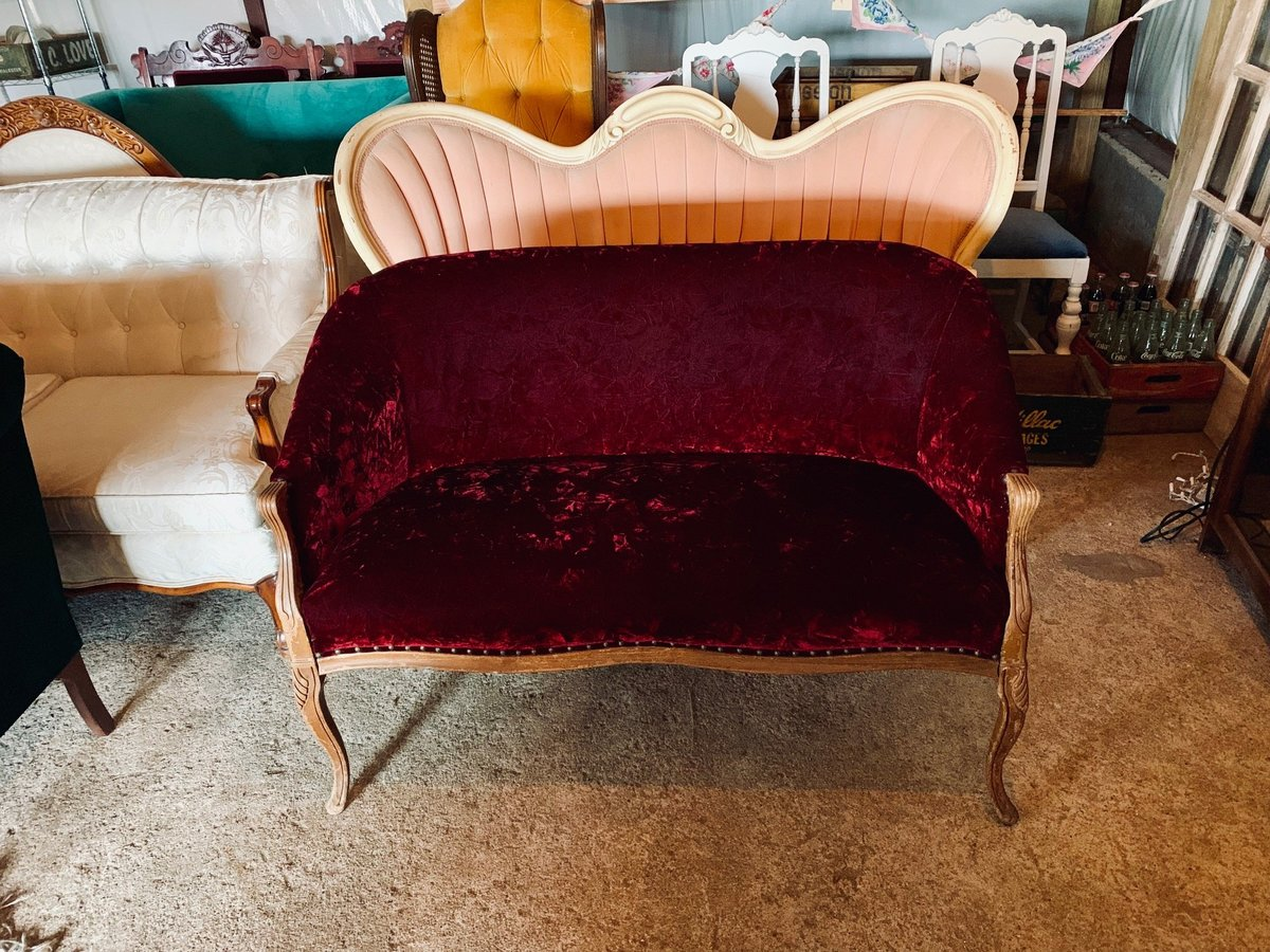 antique maroon loveseat