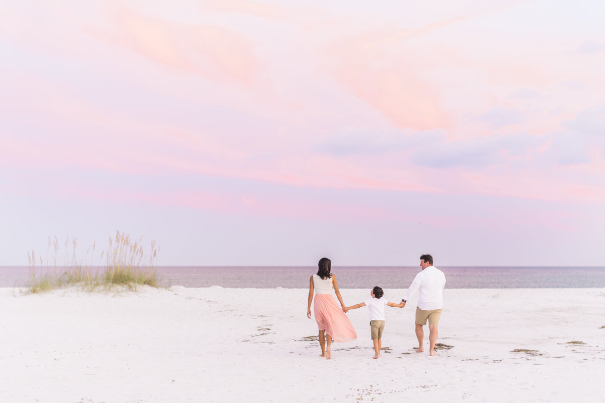 Navarre, Florida family on the beach at sunset