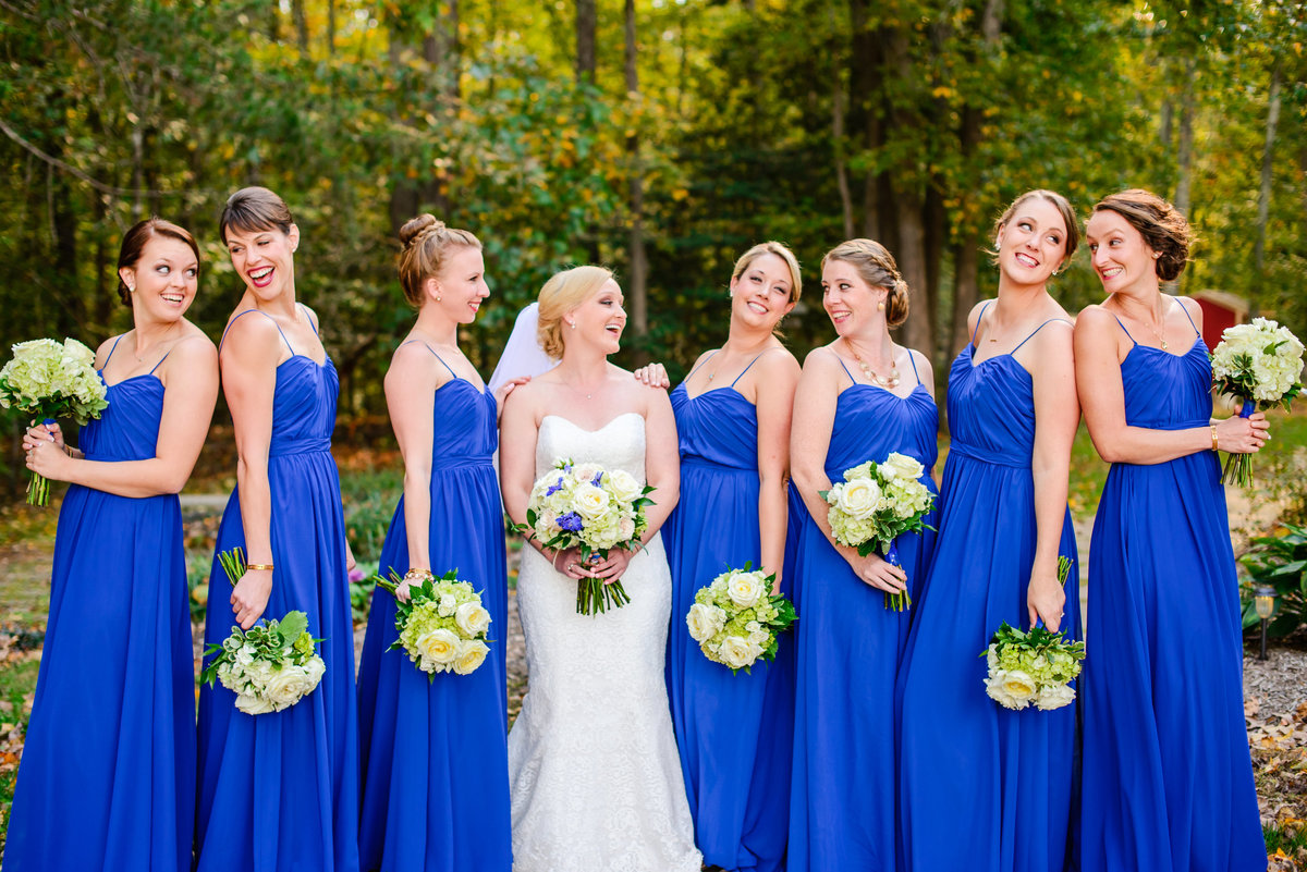 bride and bridesmaids at eden try fredericksburg va