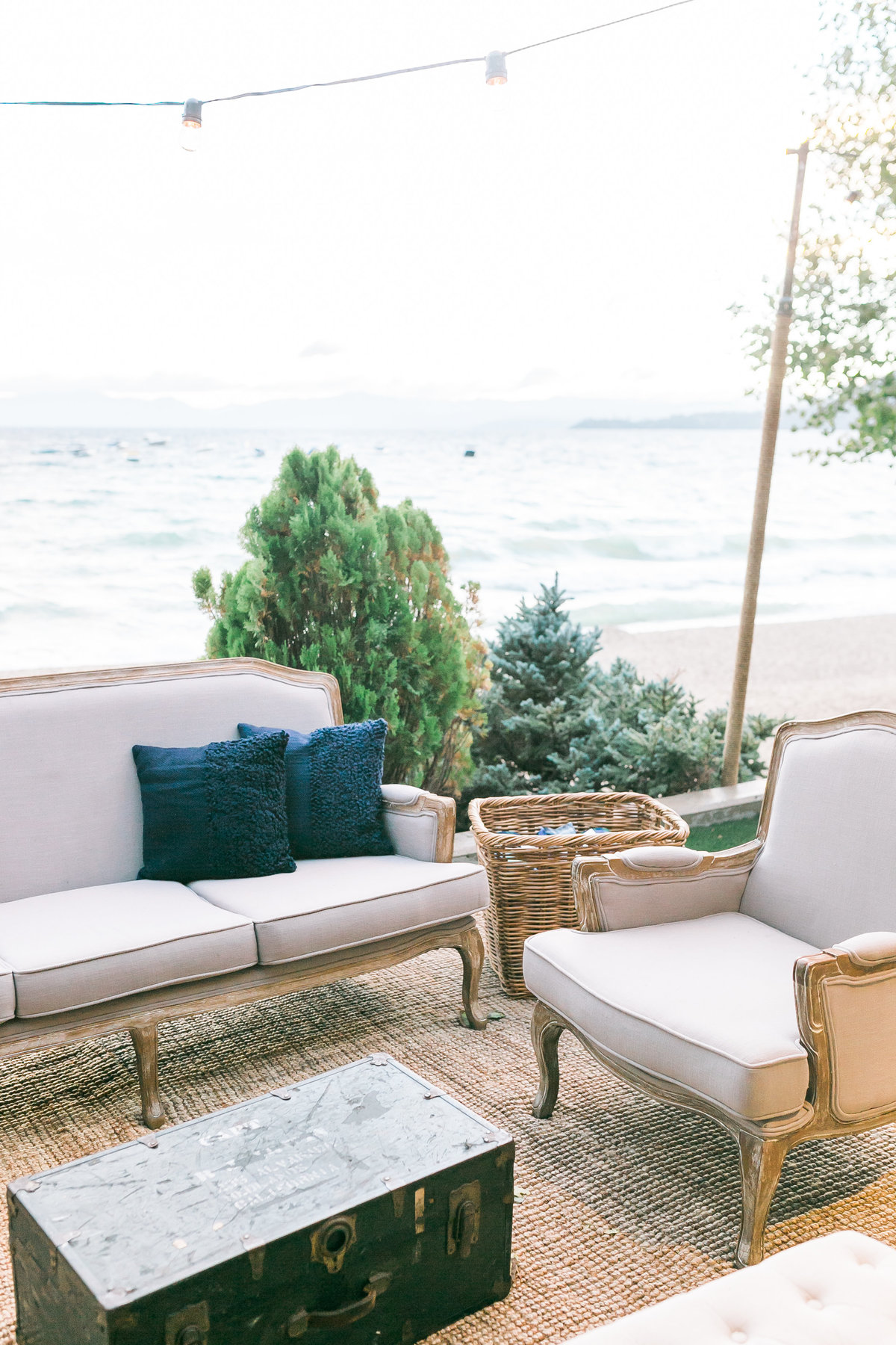 wedding rustic furniture grouping and lounge for a Lake Tahoe Wedding at Hyatt Regency Lake Tahoe