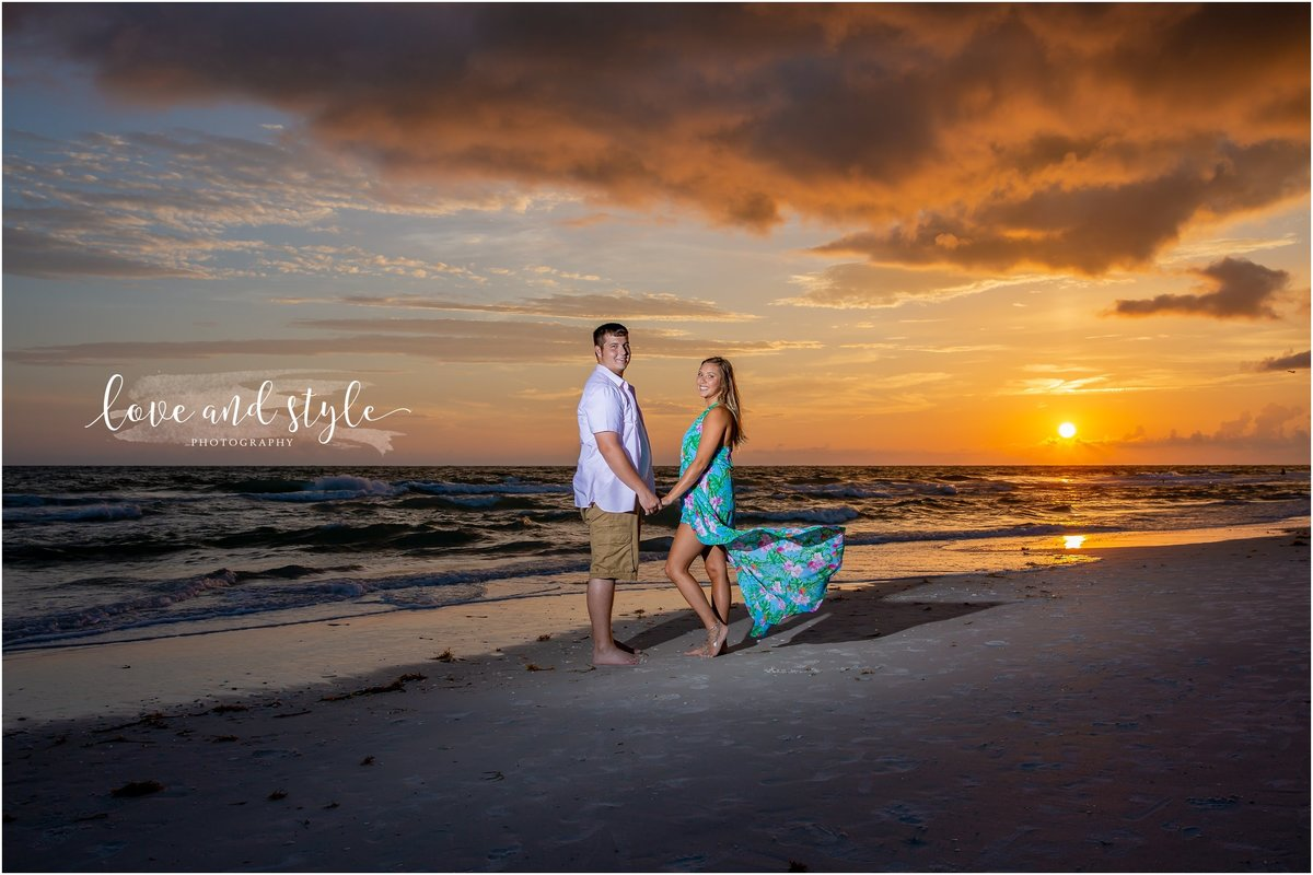 Engagement Photography at Bradenton  Beach during sunset
