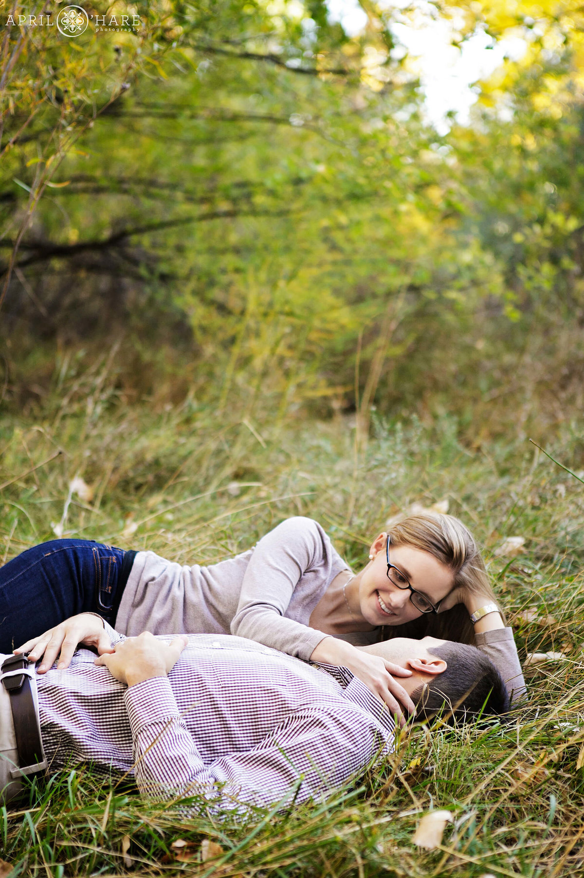 Romantic fall engagement photography with ethereal light at Four Mile House in Cherry Creek